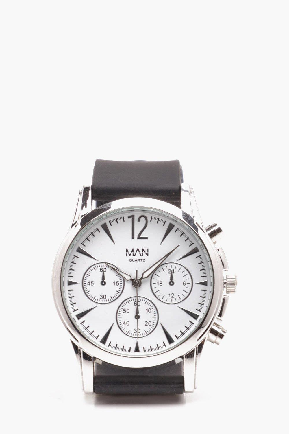 boohooMAN white Smart Multi Face Watch