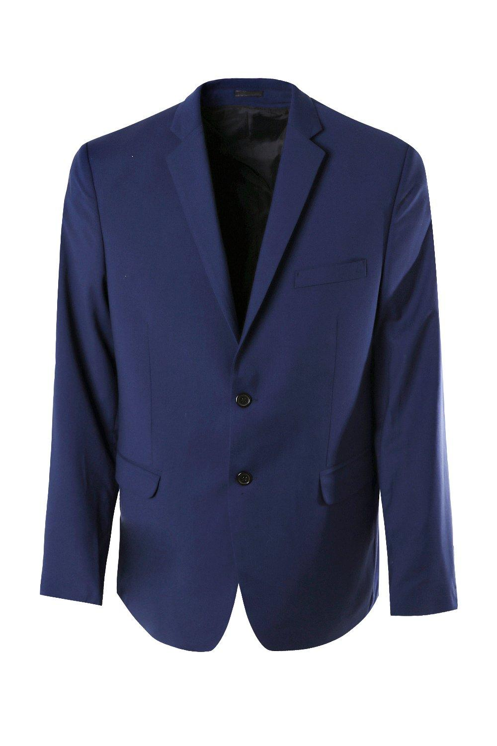 boohooMAN blue Big And Tall Skinny Fit Suit Jacket