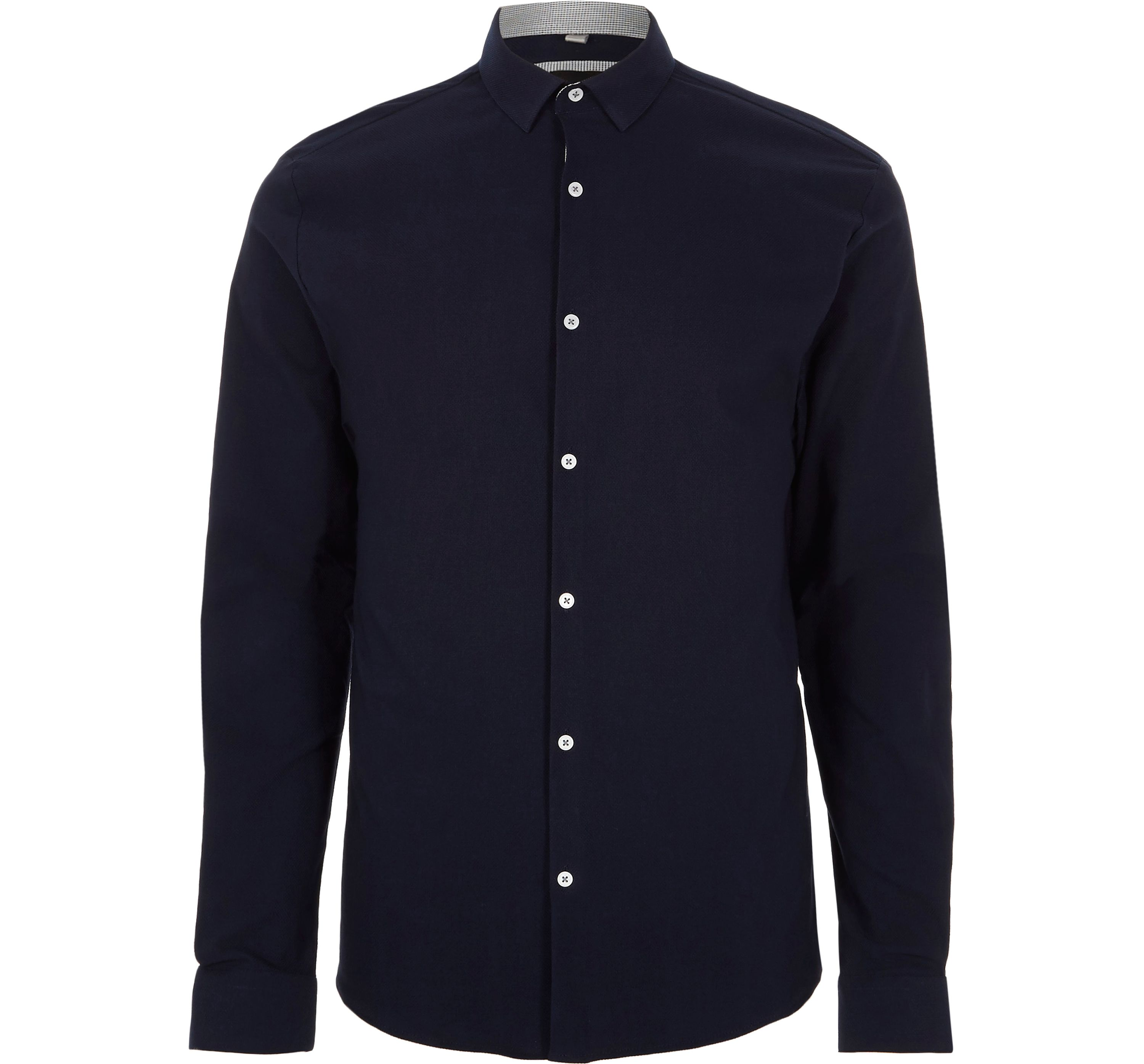 River Island Mens Navy muscle fit long sleeve shirt