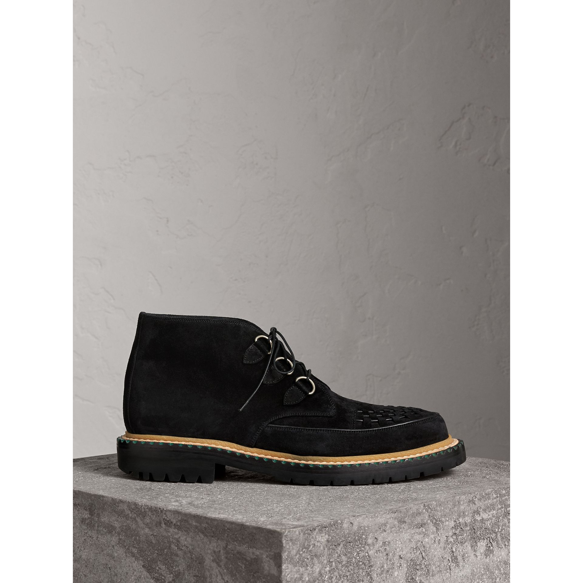 Burberry Black Woven-toe Suede Ankle Boots