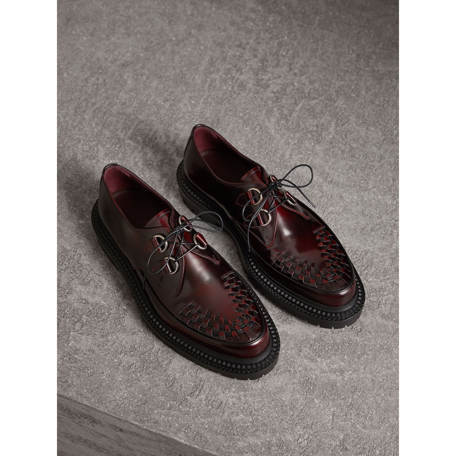 Burberry Bordeaux Woven-toe Leather Lace-up Shoes