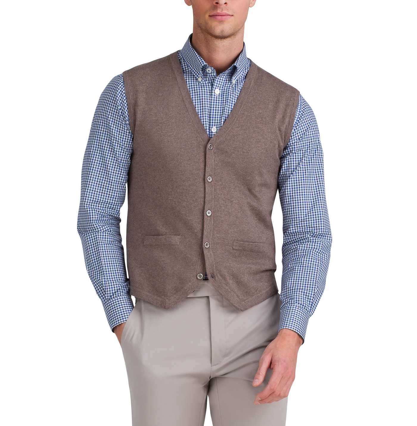 T.M.Lewin Cotton Cashmere Iced Coffee Knitted Waistcoat