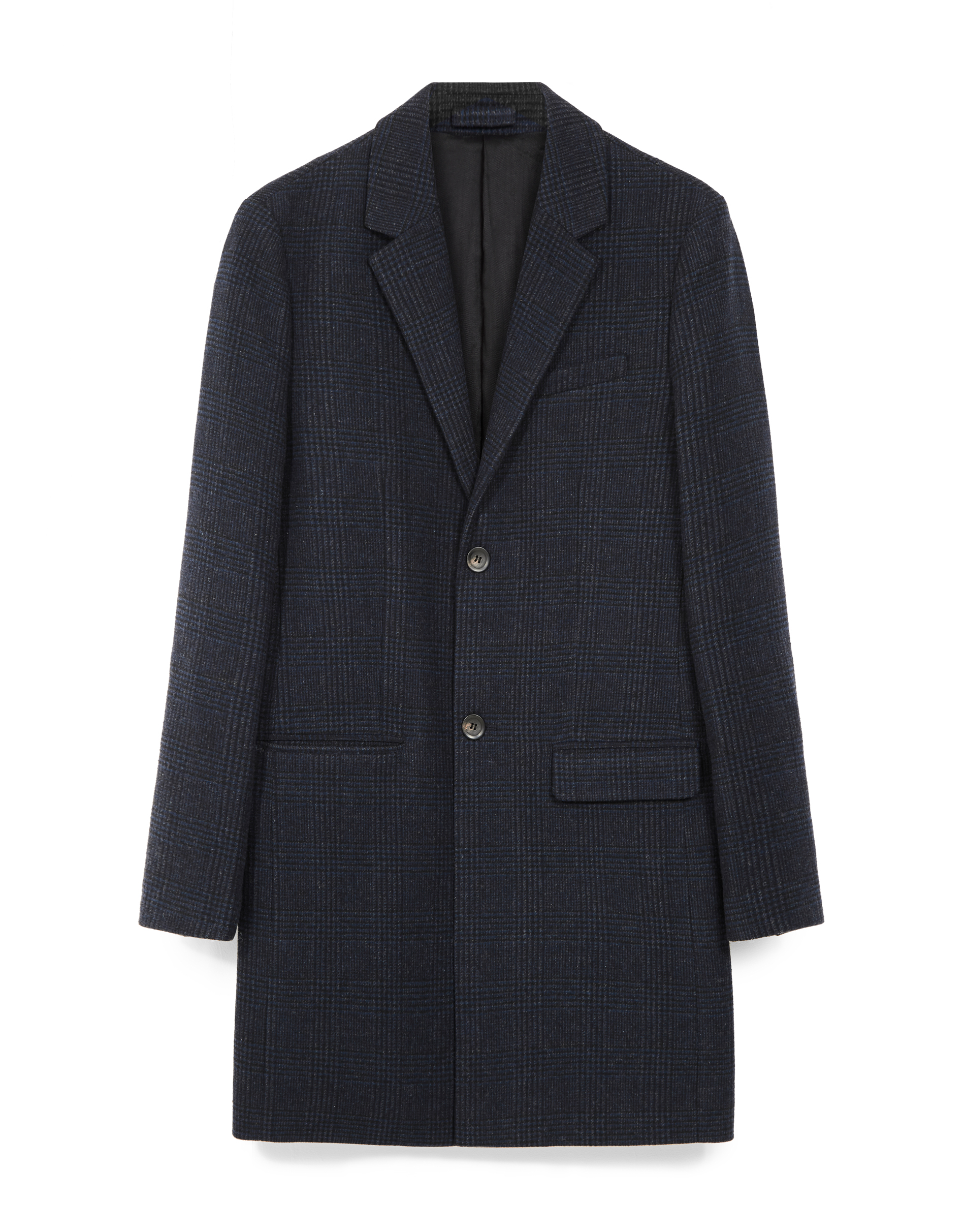 MVP Grey Check Greenwood Single Breasted Wool Blend Check Coat