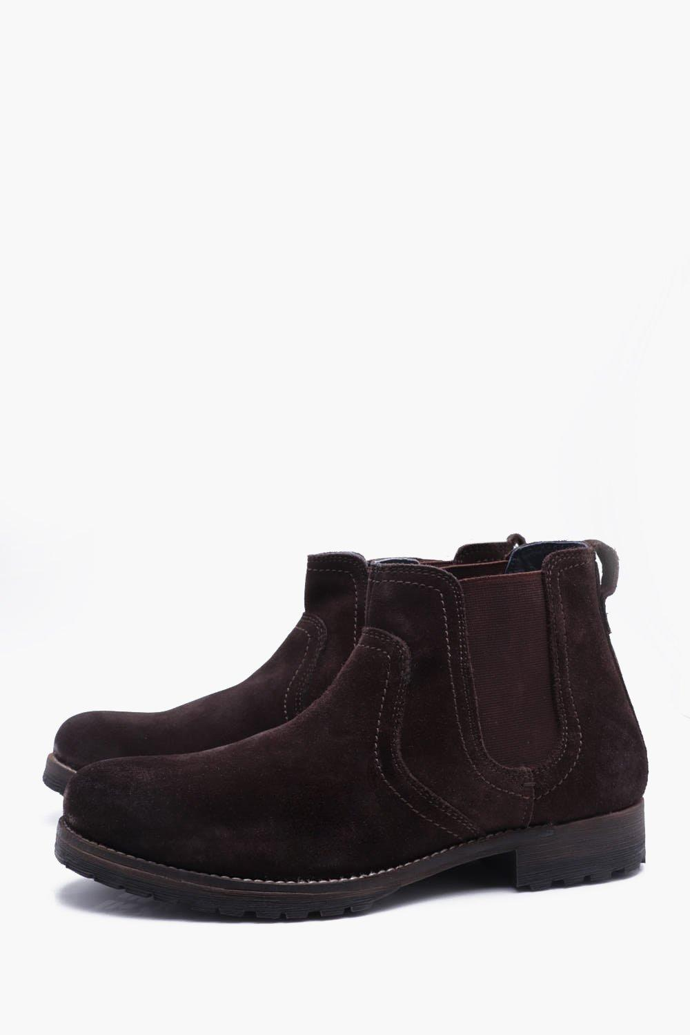 boohooMAN brown Cleated Suede Chelsea Boots