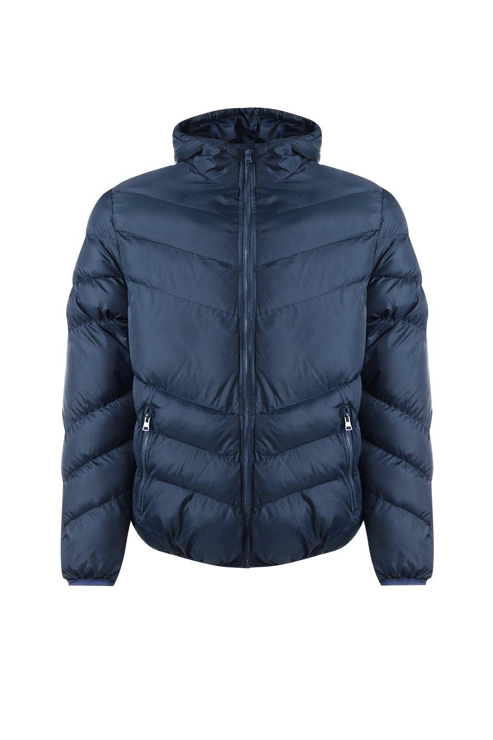 boohooMAN navy Hooded Quilted Jacket