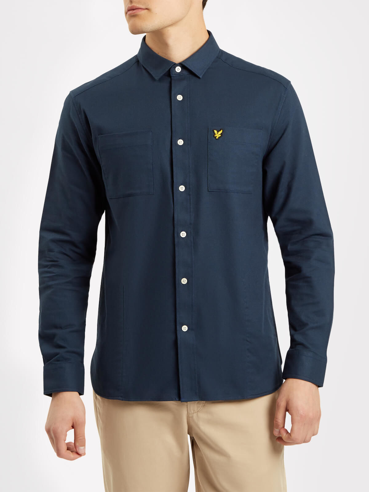 Lyle and Scott Navy Houndstooth Flannel Overshirt