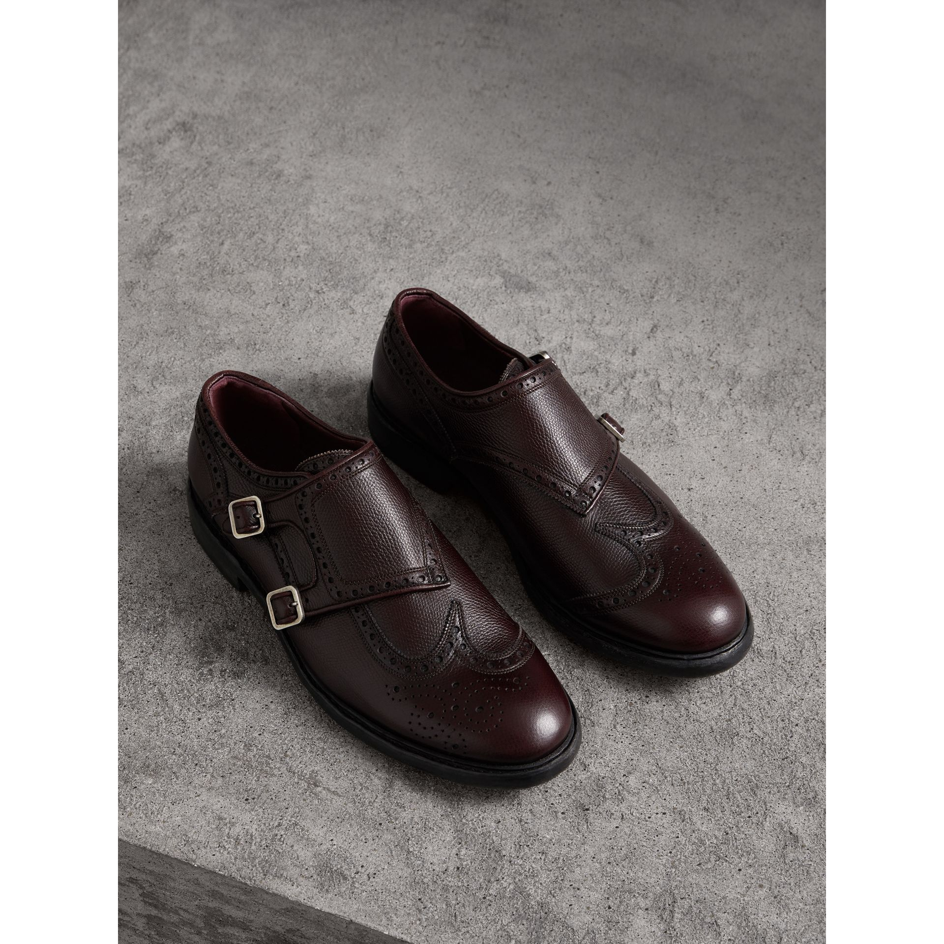 Burberry Burgundy Red Brogue Detail Textured Leather Monk Shoes