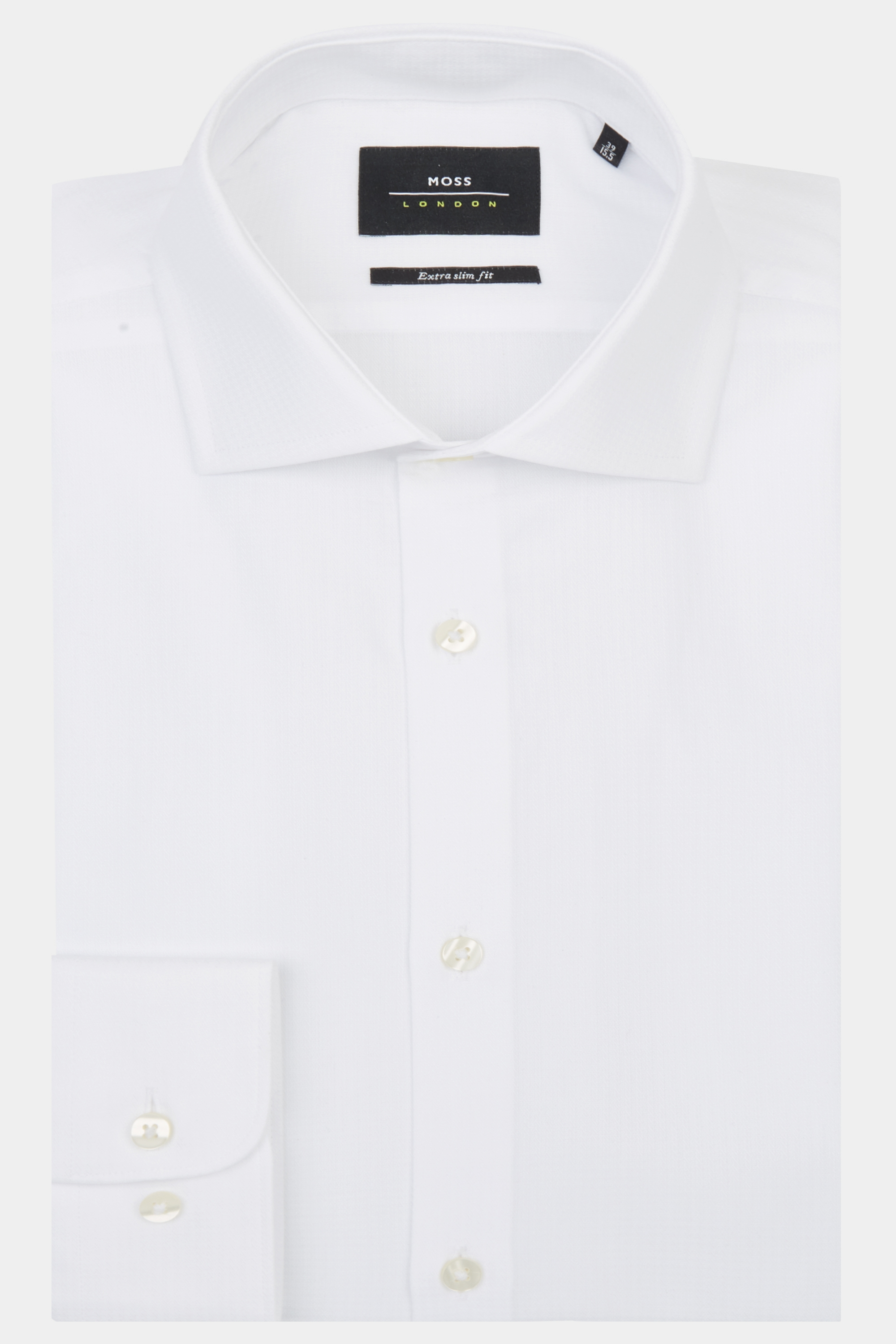 Moss Bros Moss London Premium Extra Slim Fit White Single Cuff Puppytooth Shirt