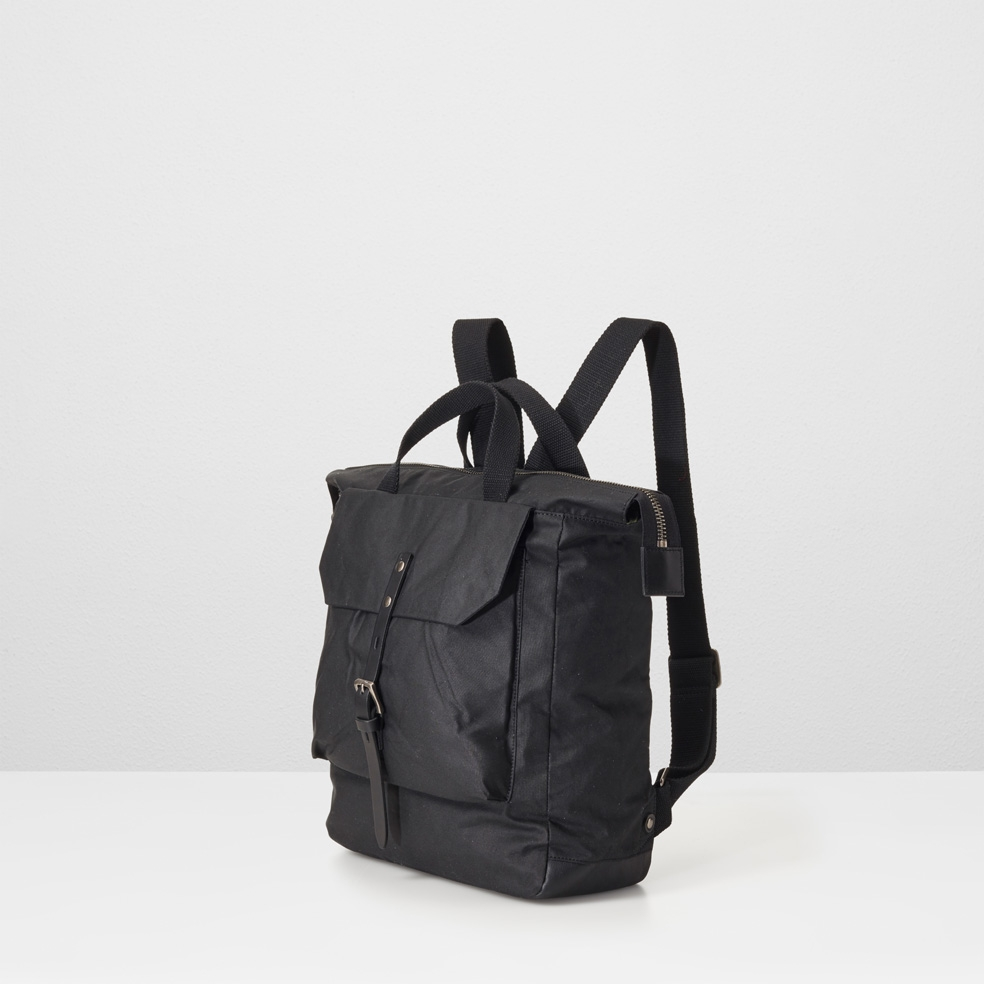 fdf644923 Frances Waxed Cotton Rucksack In Black by... — Thread