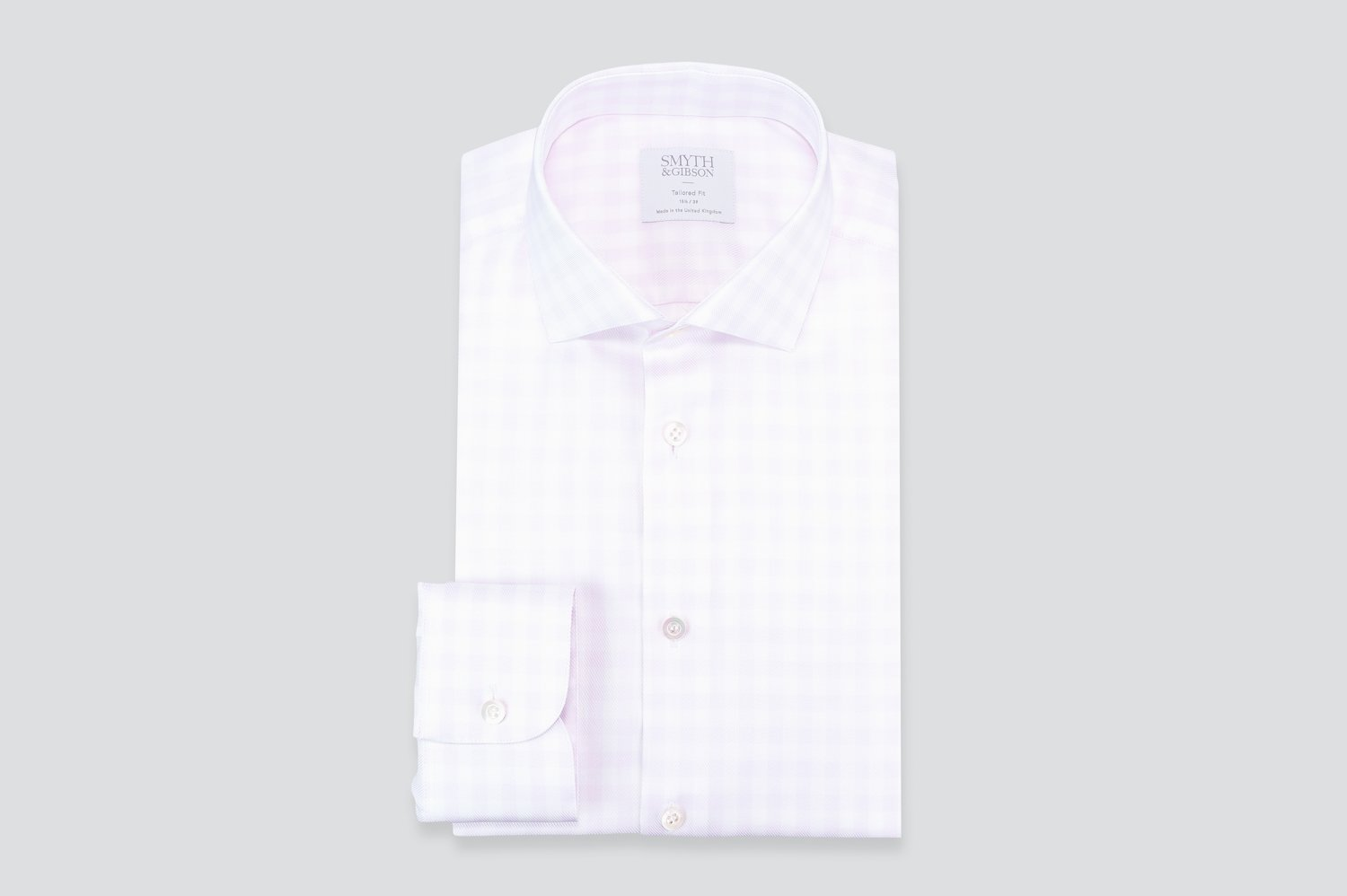 Smyth & Gibson Gingham Dobby Tailored Fit Shirt in Pink