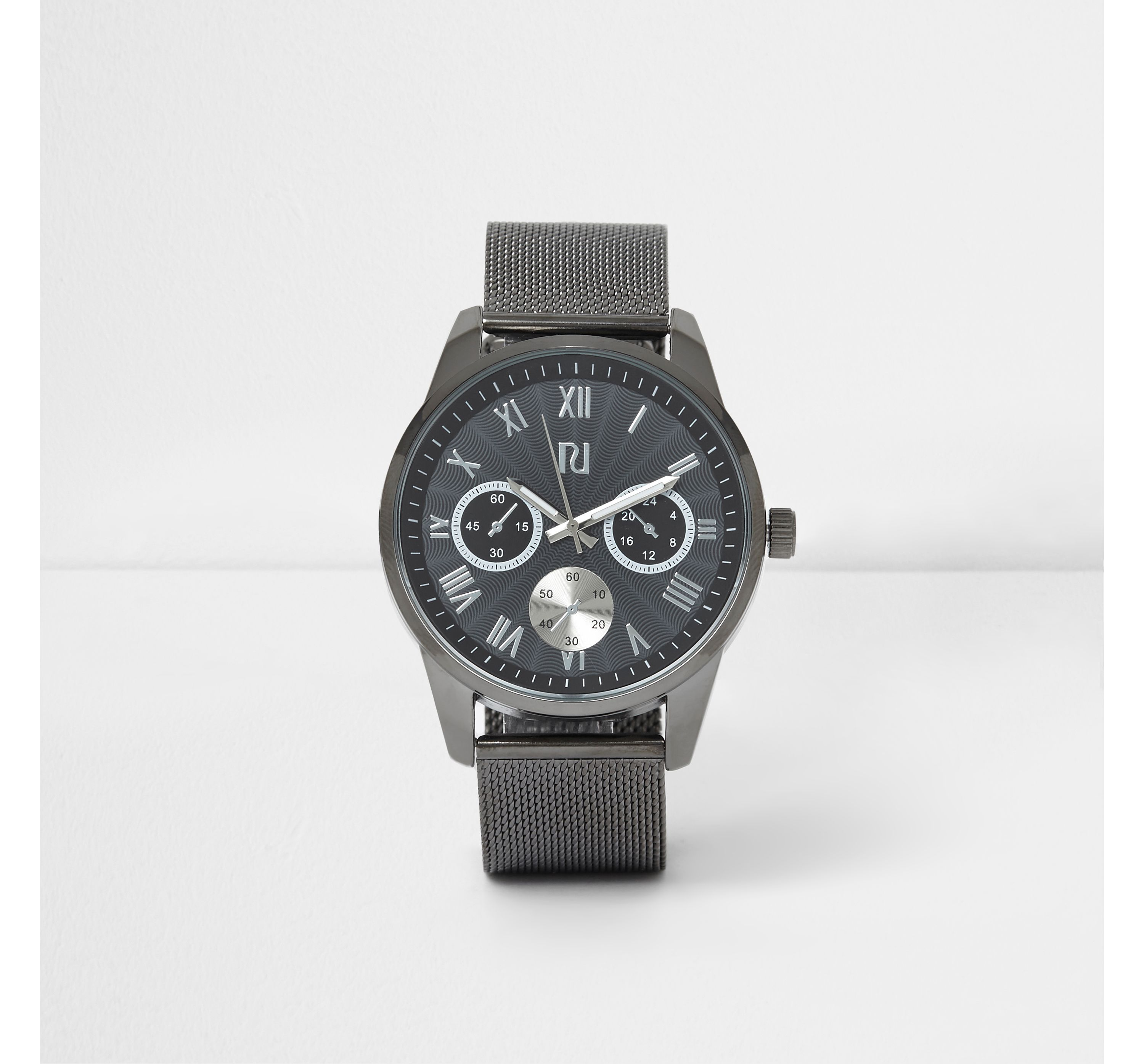 River Island Mens Grey round face mesh strap watch