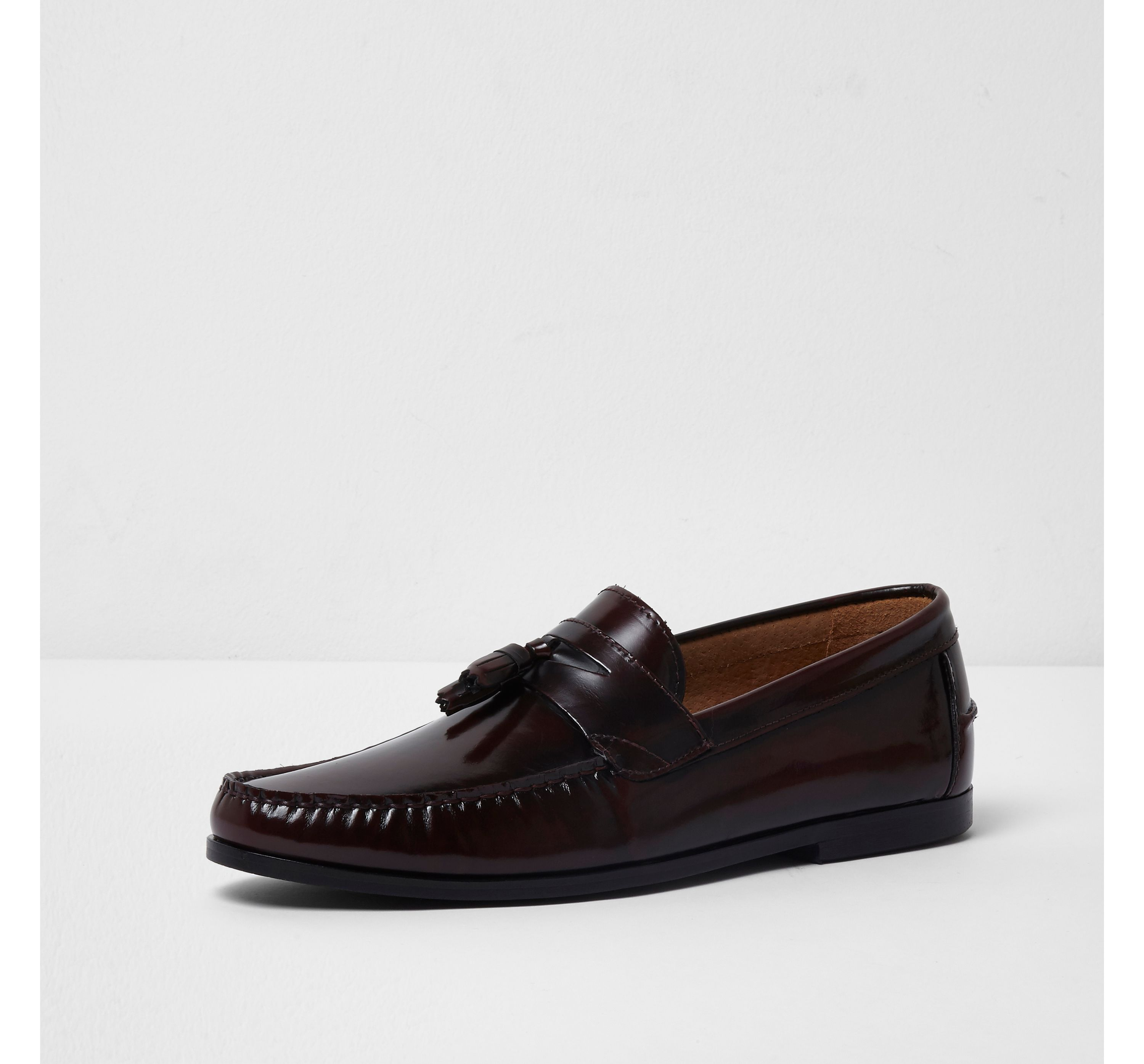 River Island Mens Burgundy leather tassel loafers