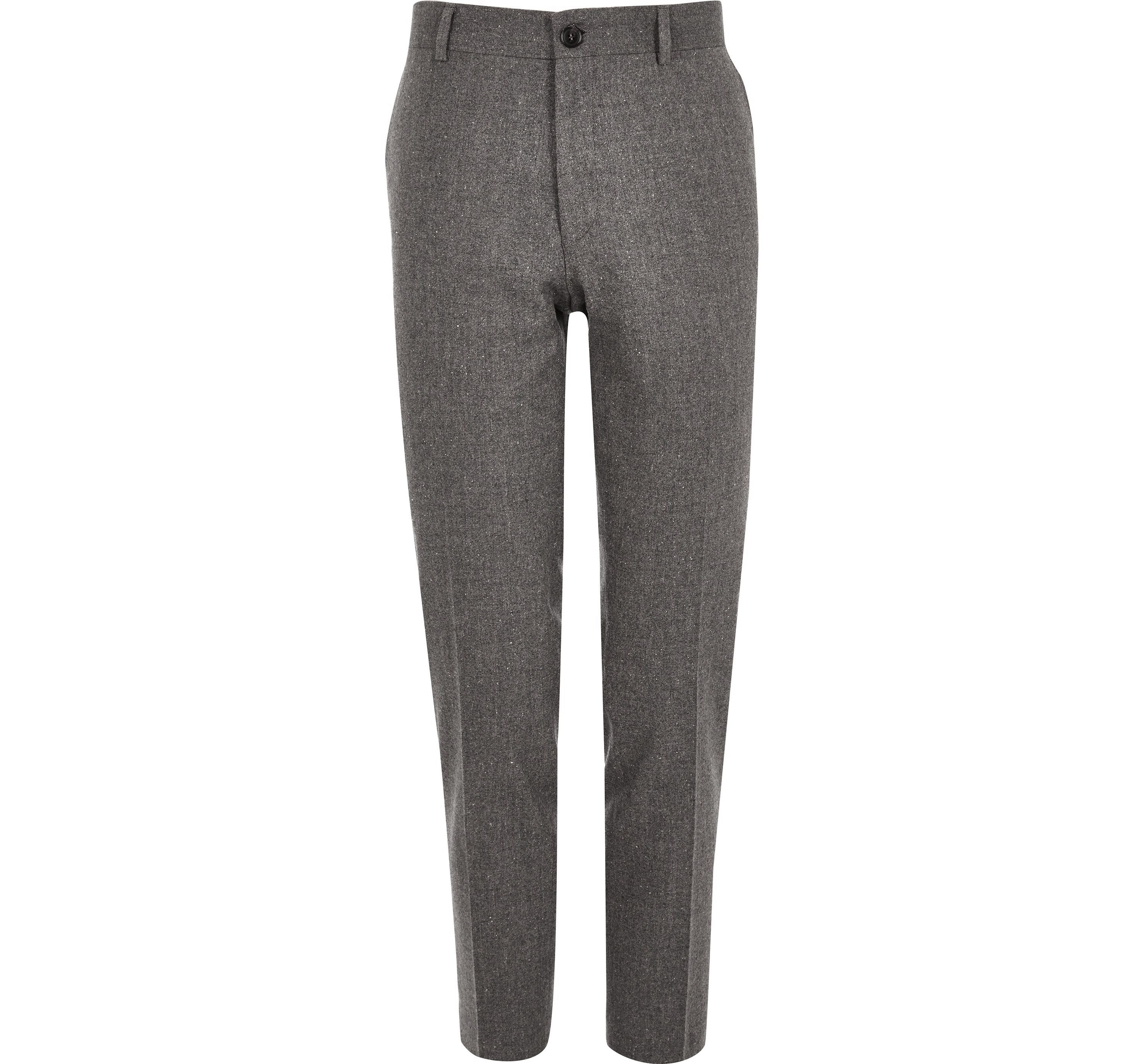 River Island Mens Grey wool blend skinny fit trousers