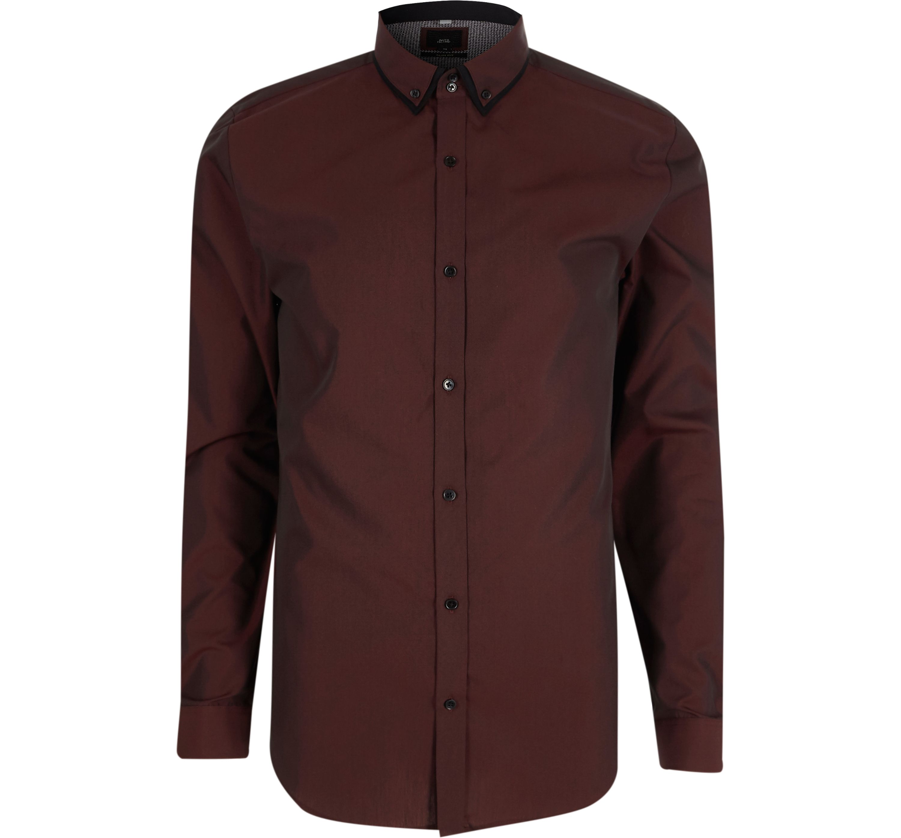 River Island Mens Purple slim fit double collar shirt