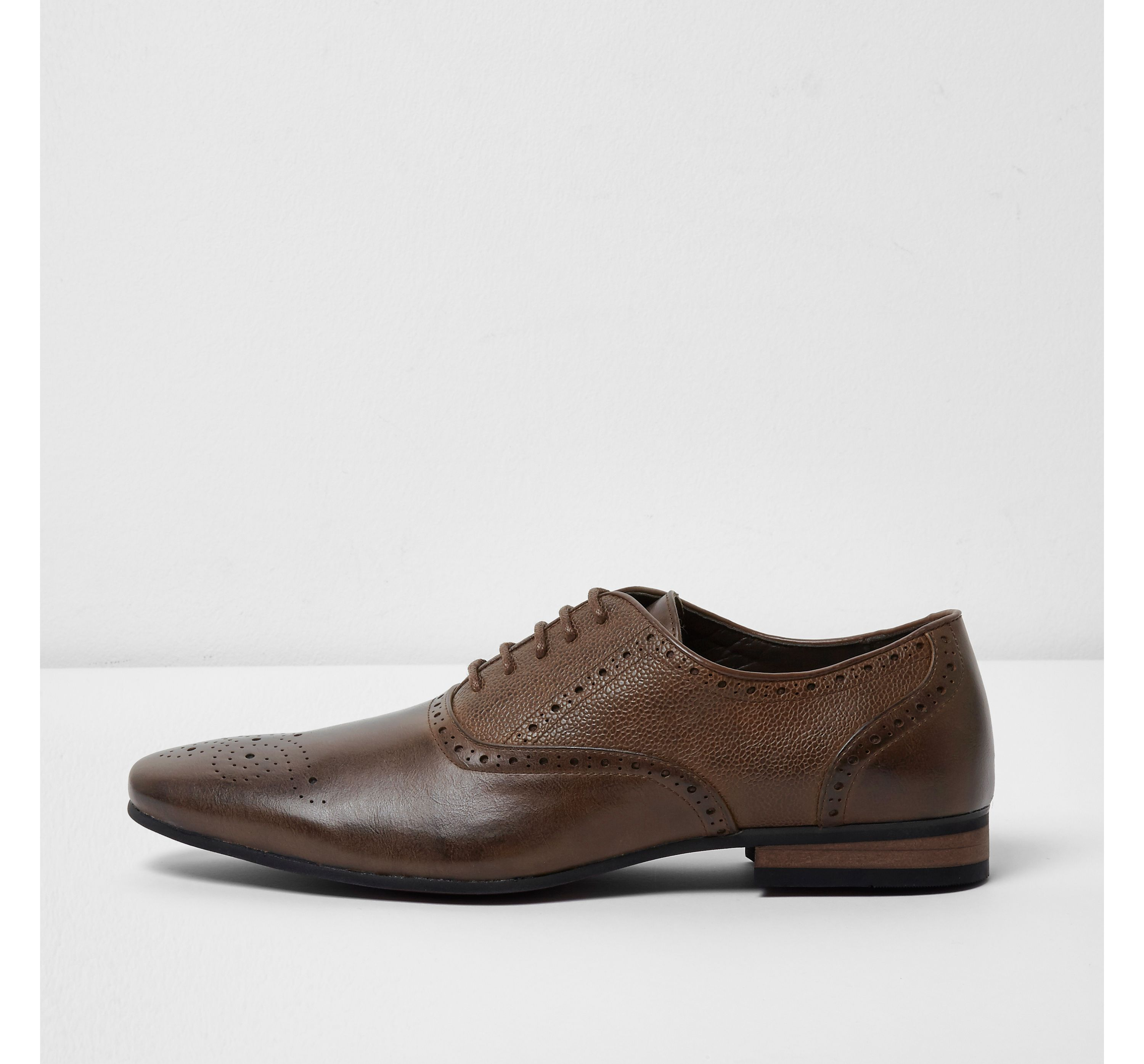 River Island Mens Brown textured brogues