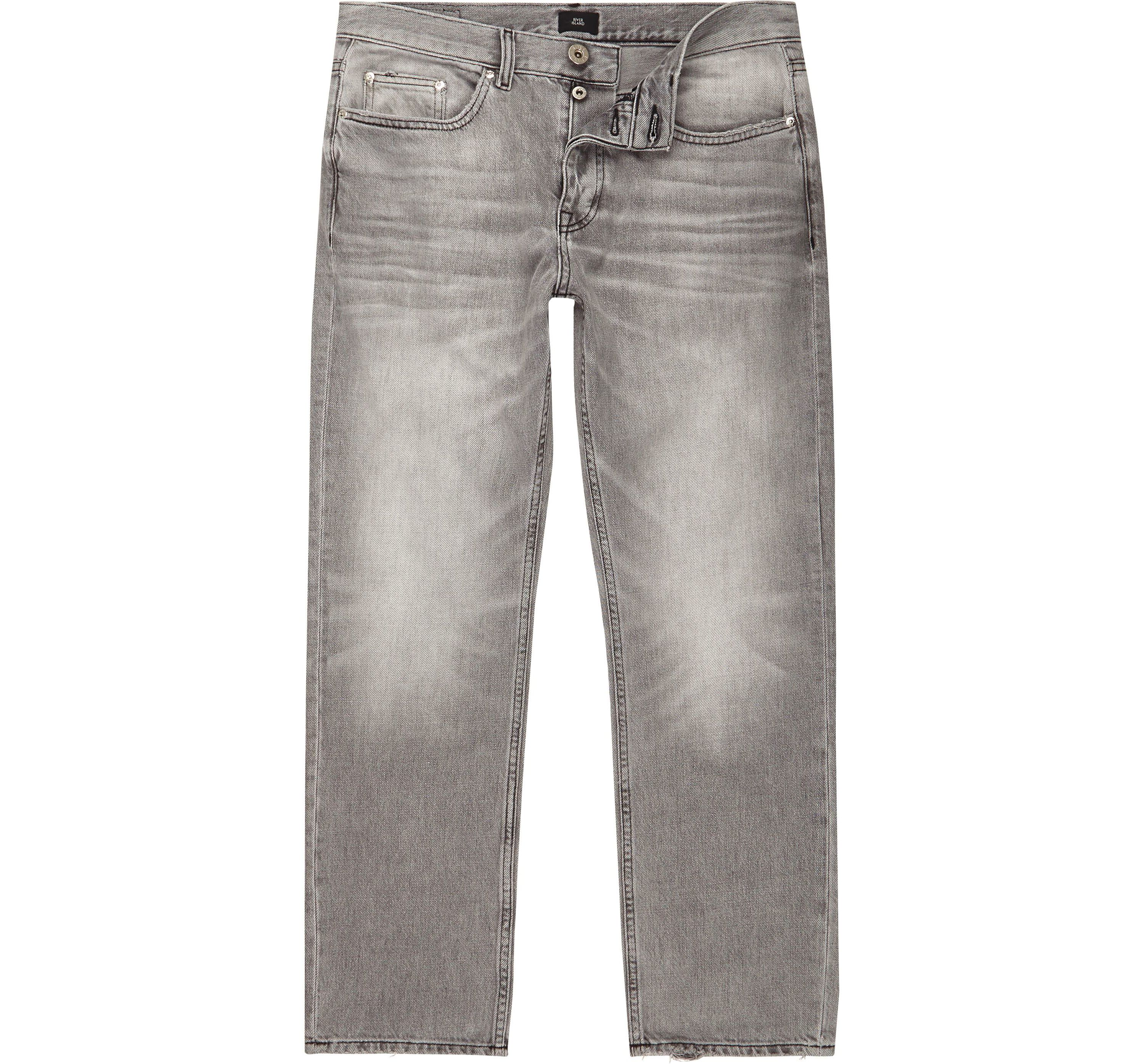 River Island Mens Grey wash fade loose fit jeans