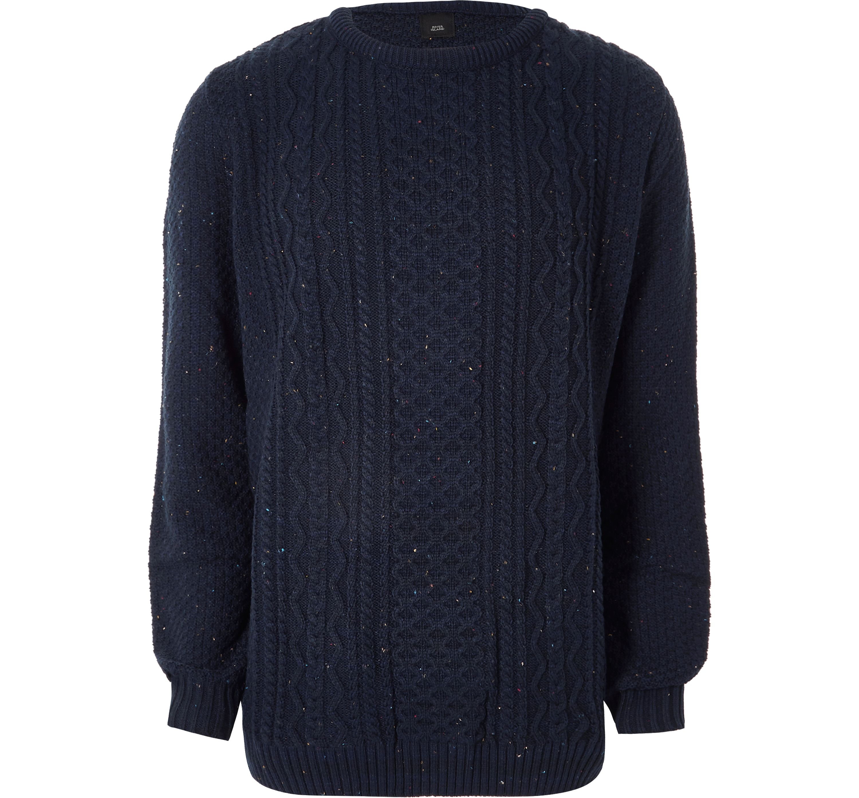 River Island Mens Big and Tall Navy cable knit jumper