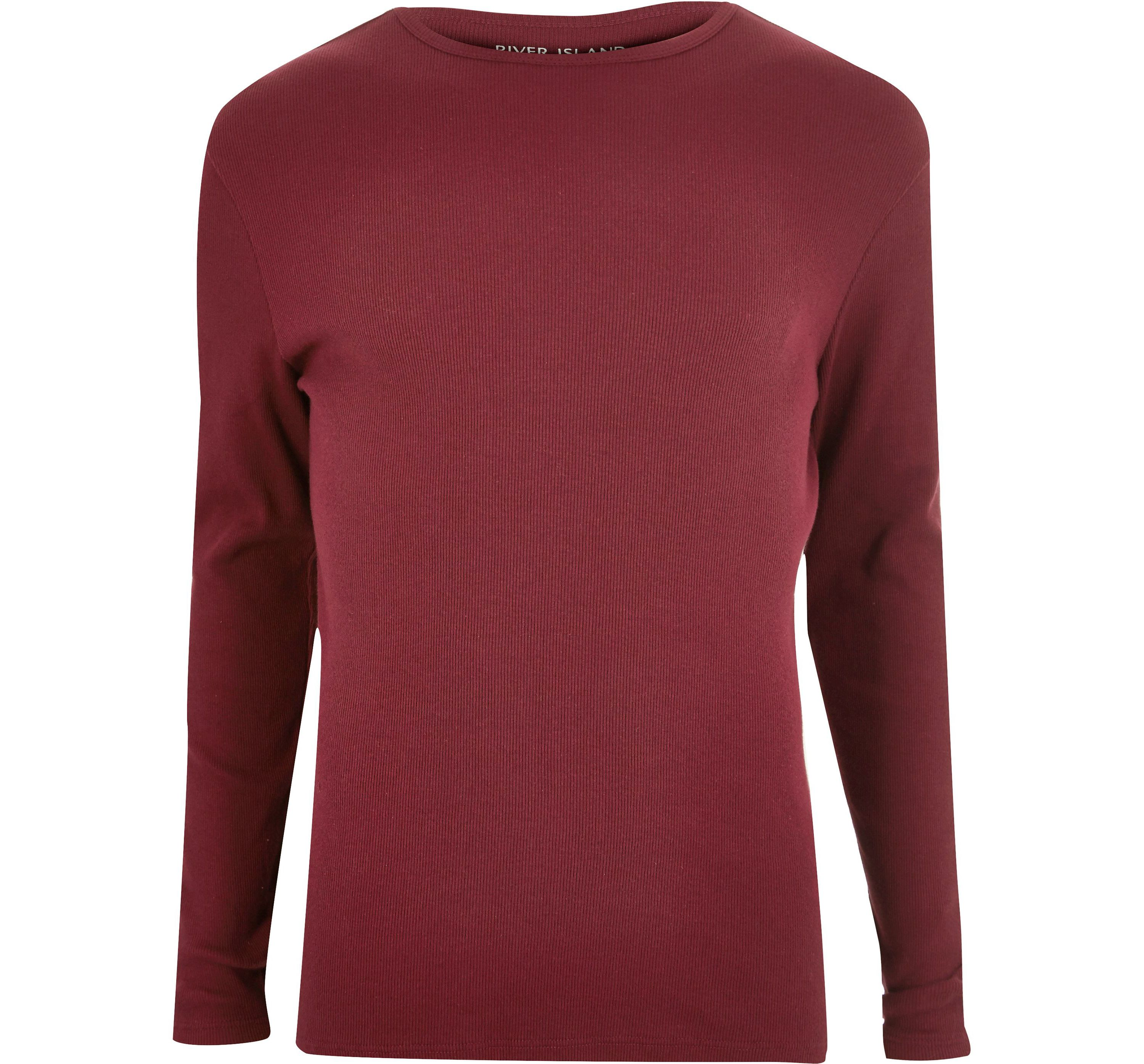 River Island Mens Red ribbed slim fit long sleeve T-shirt