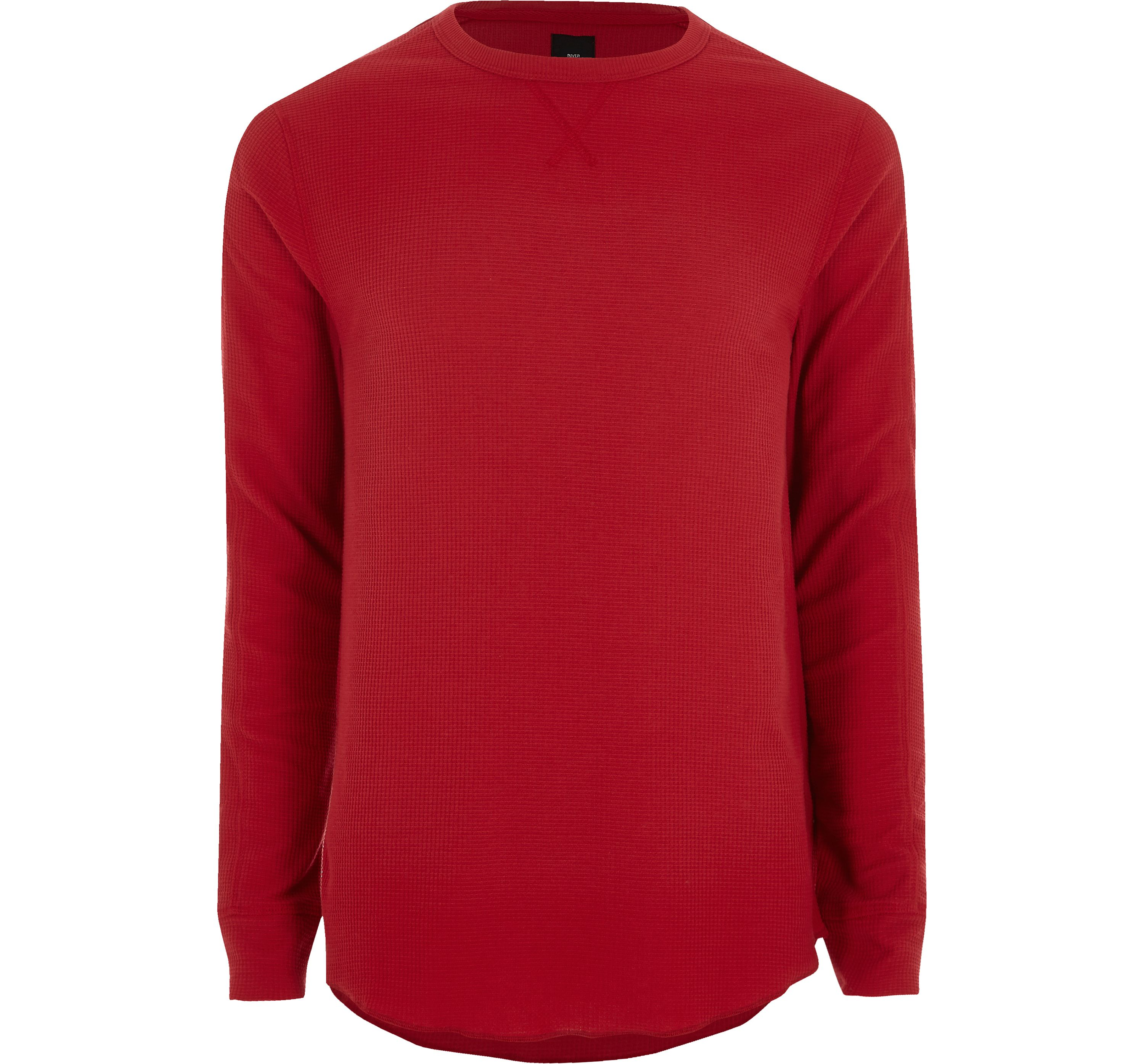 River Island Mens Red waffle slim fit long sleeve T-shirt