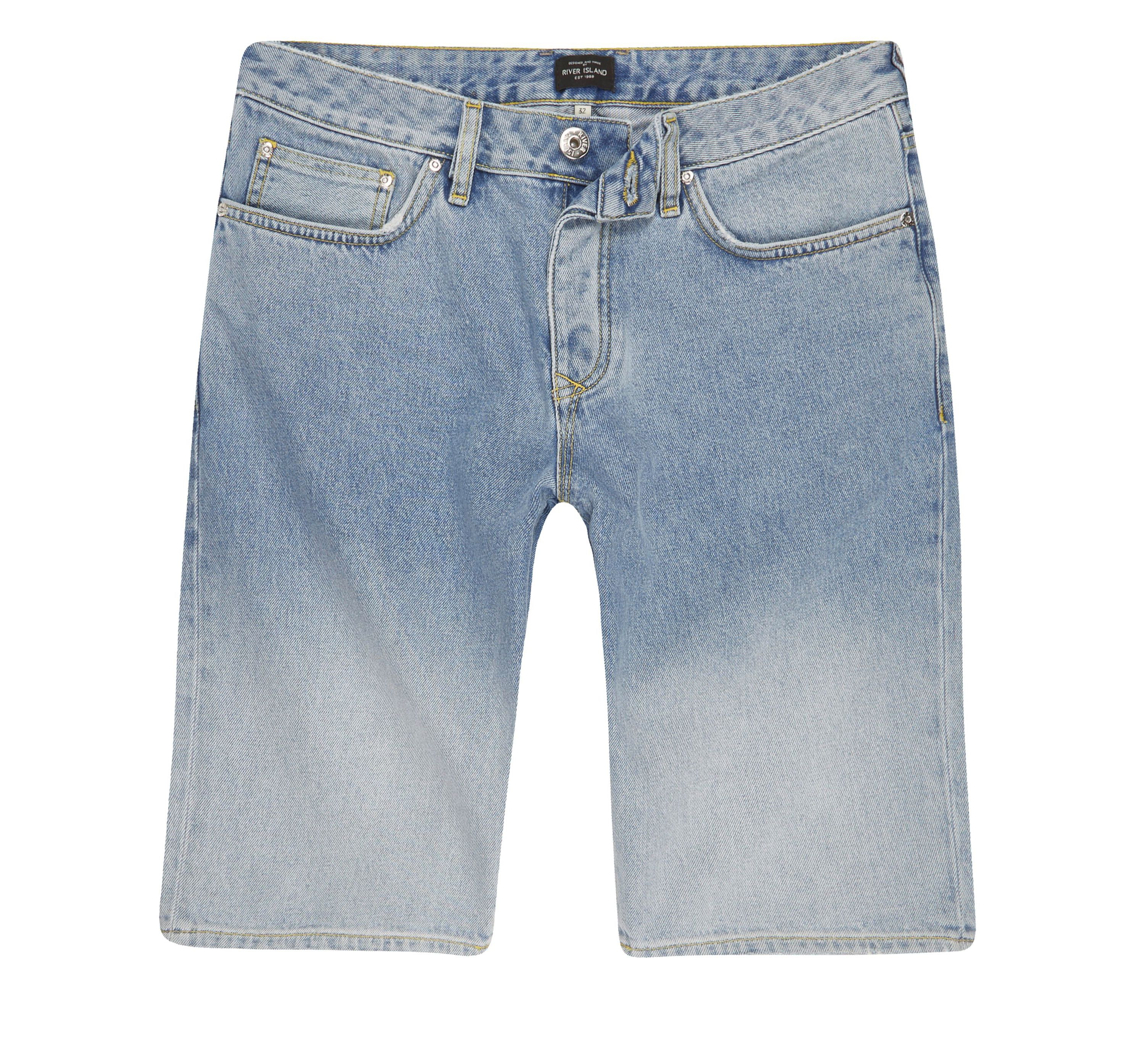 River Island Mens Light Blue fade denim shorts