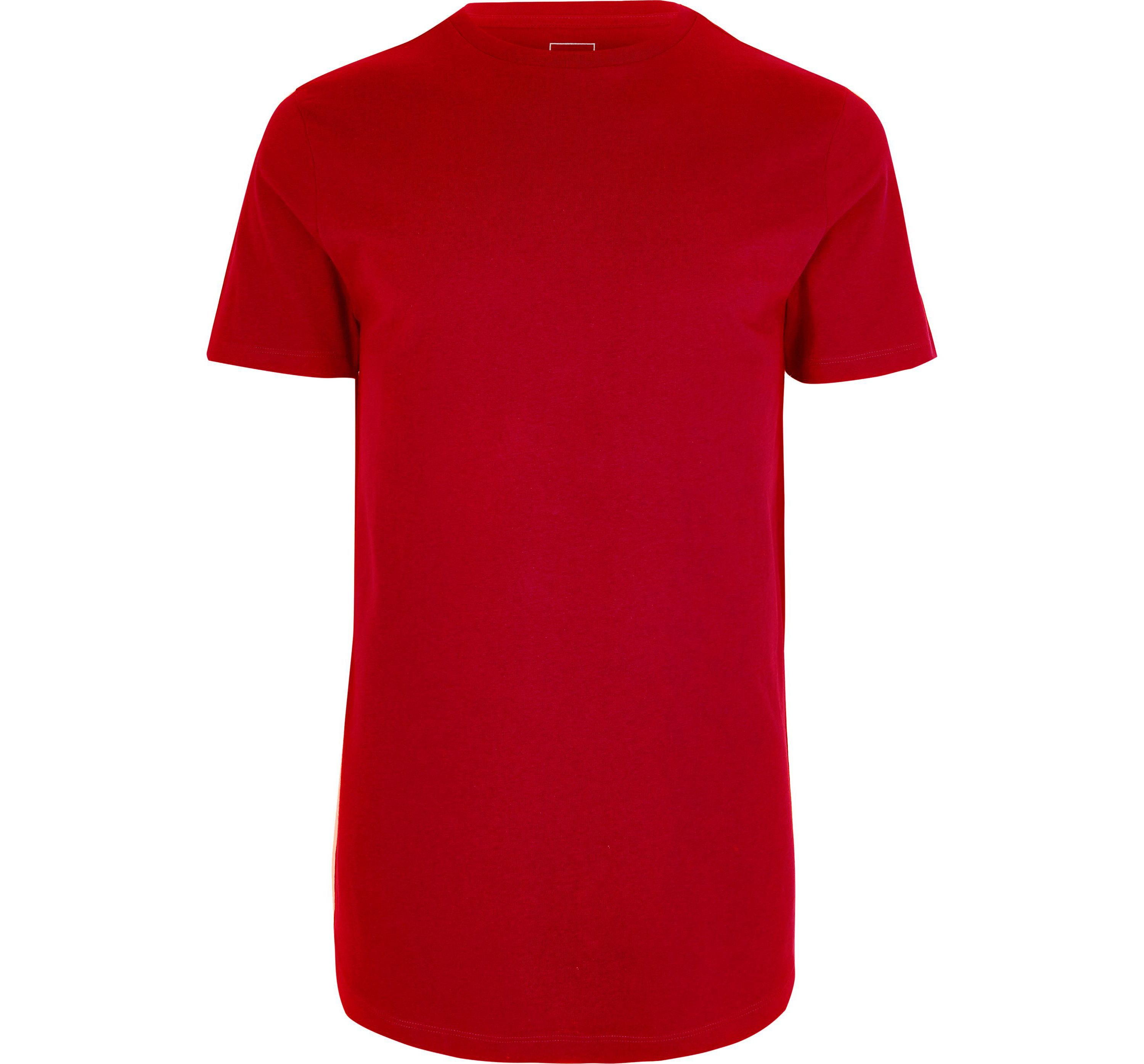 River Island Mens Big and Tall Red curved hem T-shirt