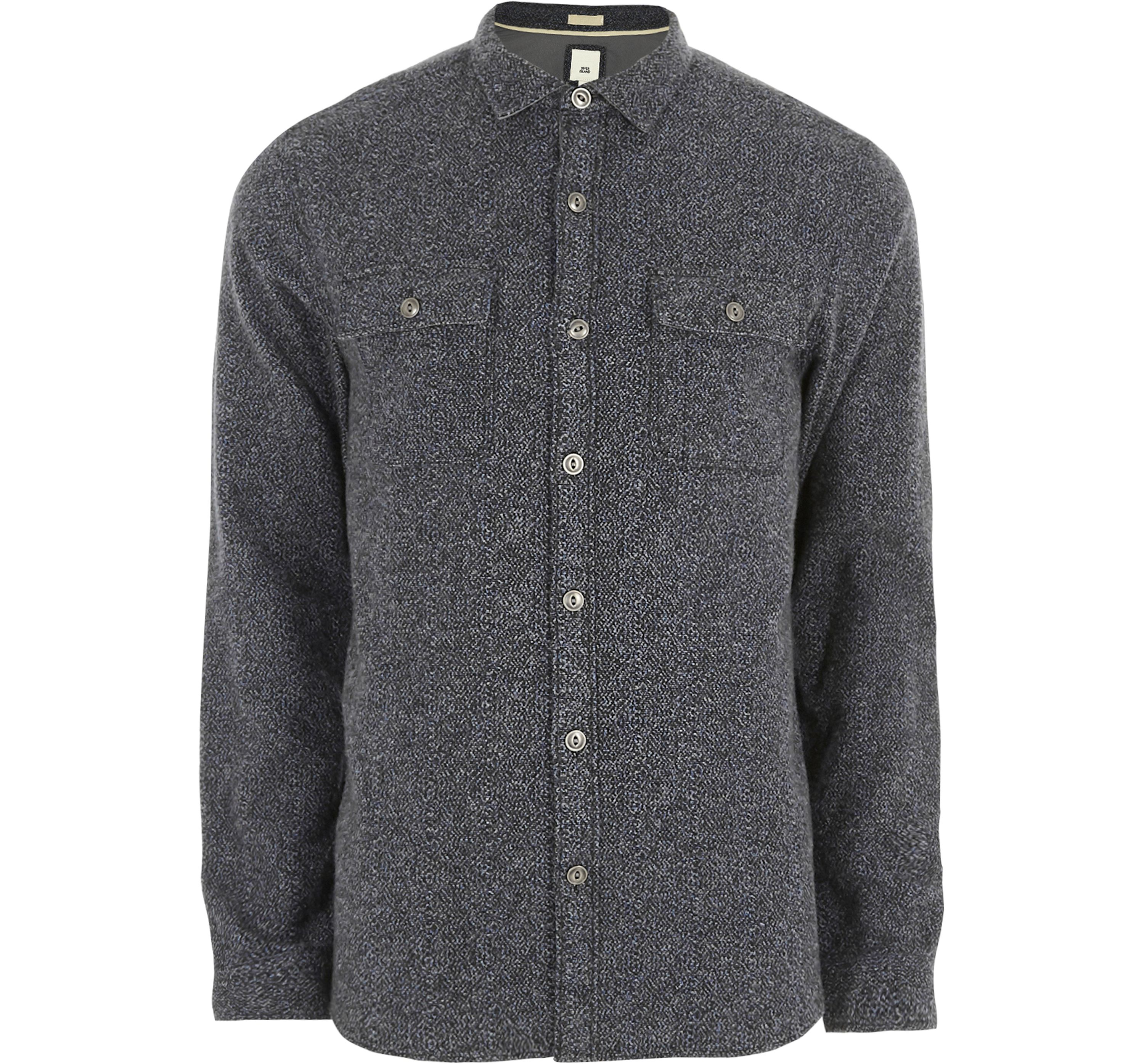 River Island Mens Grey grindle long sleeve casual shirt