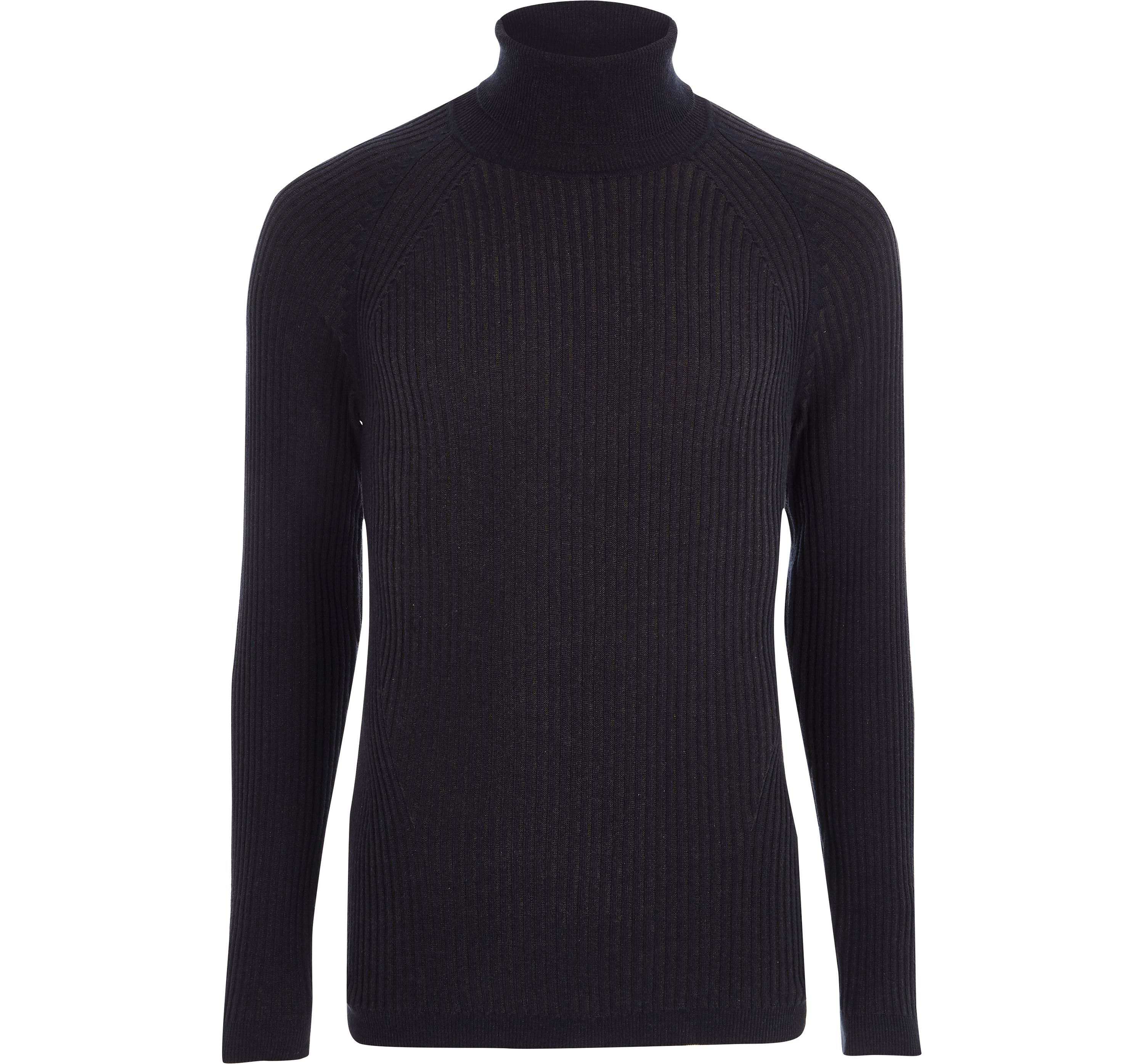 River Island Mens Navy ribbed muscle fit roll neck jumper