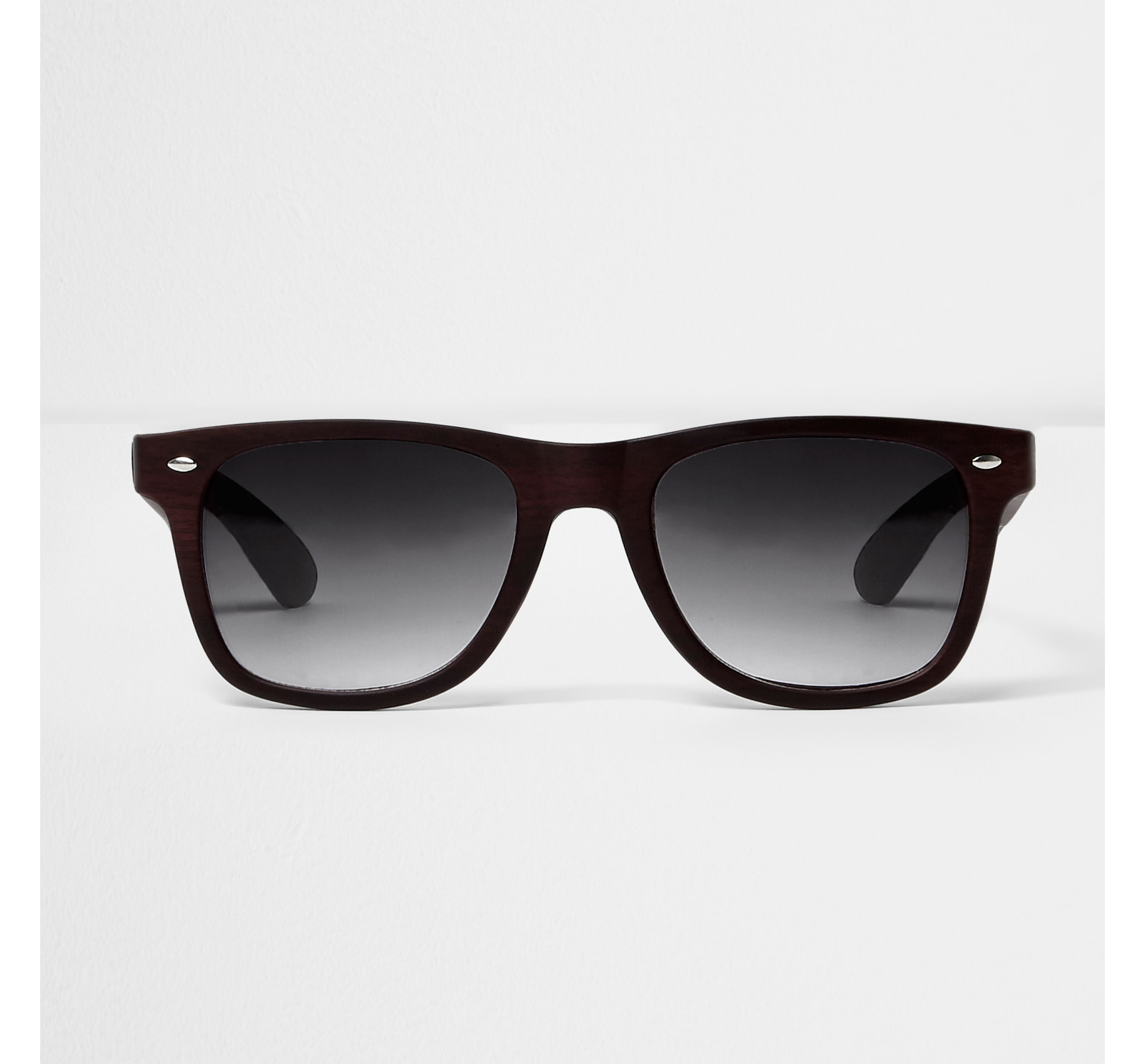 River Island Mens Brown wood effect retro square sunglasses