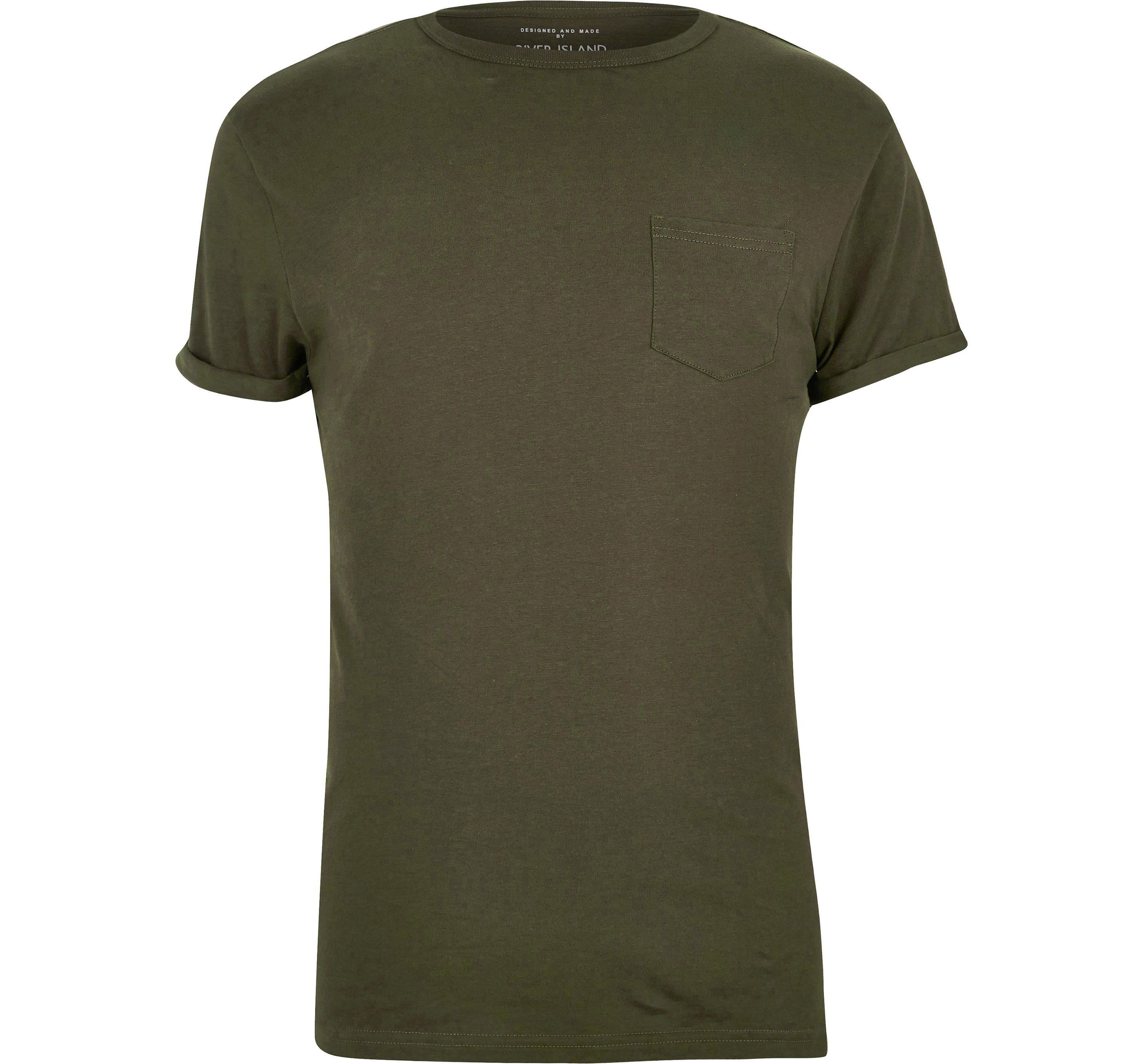 River Island Mens Big and Tall dark Green crew neck T-shirt