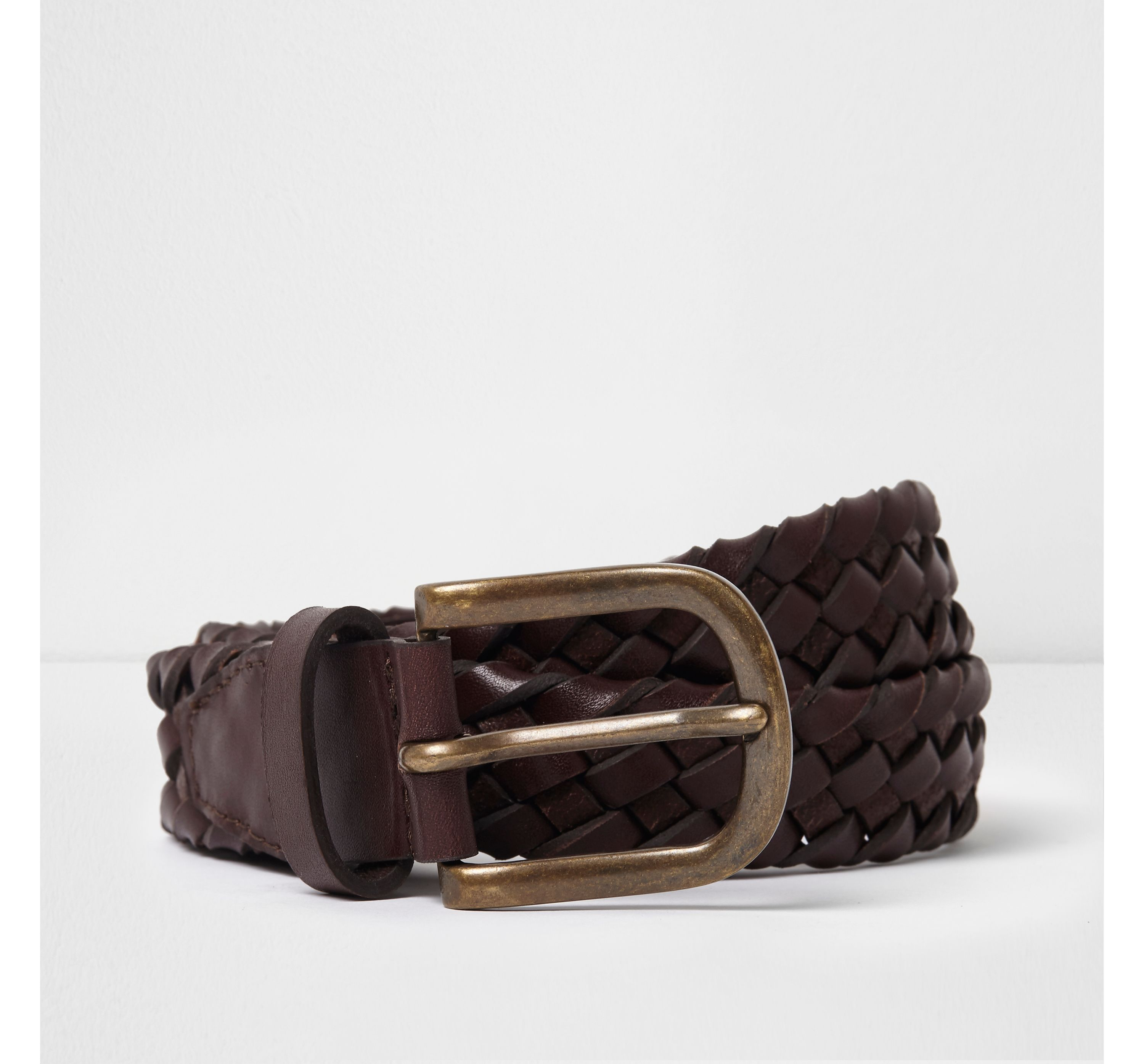 River Island Mens Brown braided leather belt