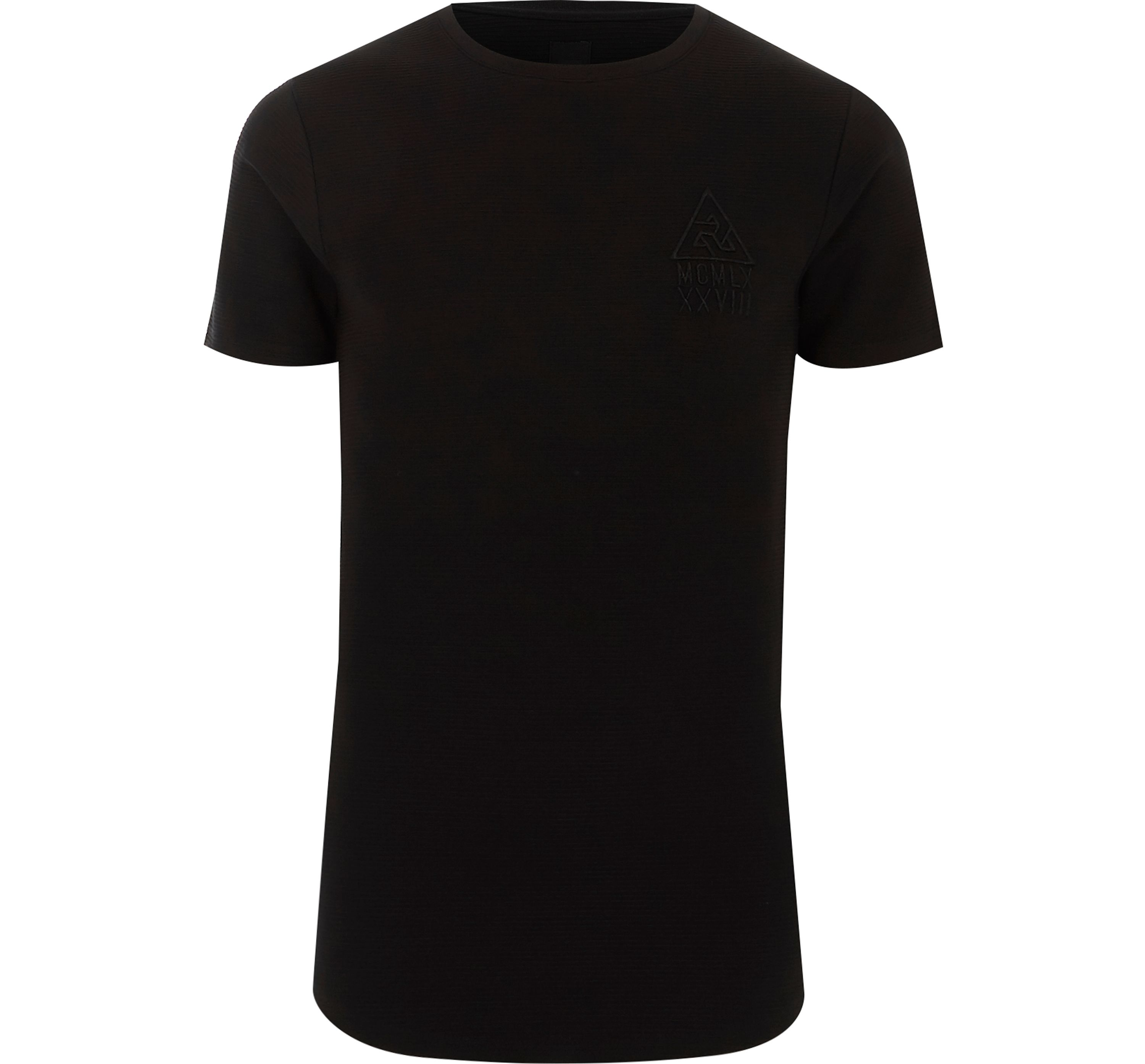 River Island Mens Black ribbed muscle fit logo T-shirt