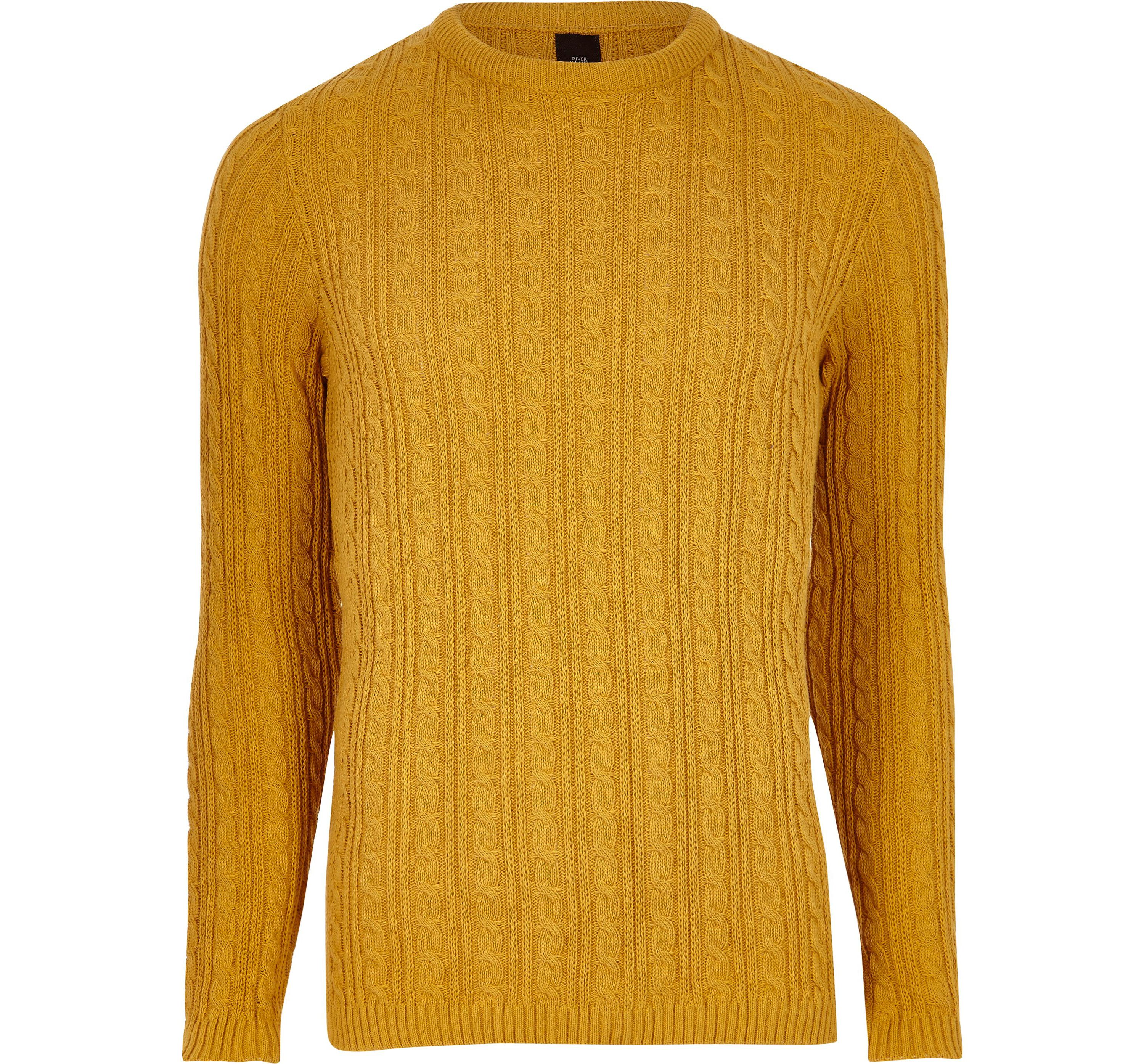 Mens Mustard Yellow Cable Knit Muscle Fit Jumper By River Island Thread