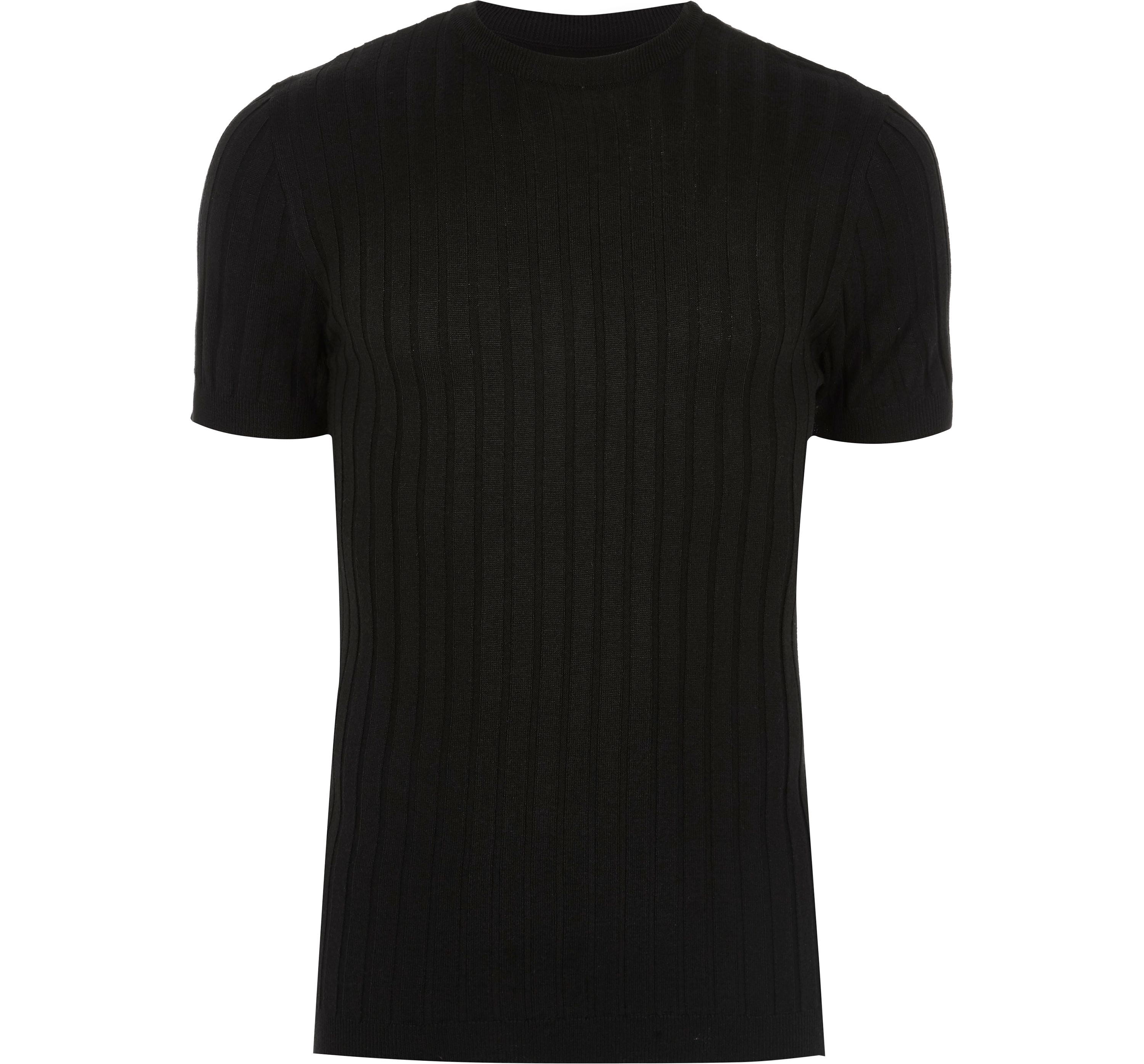River Island Mens Black ribbed muscle fit T-shirt