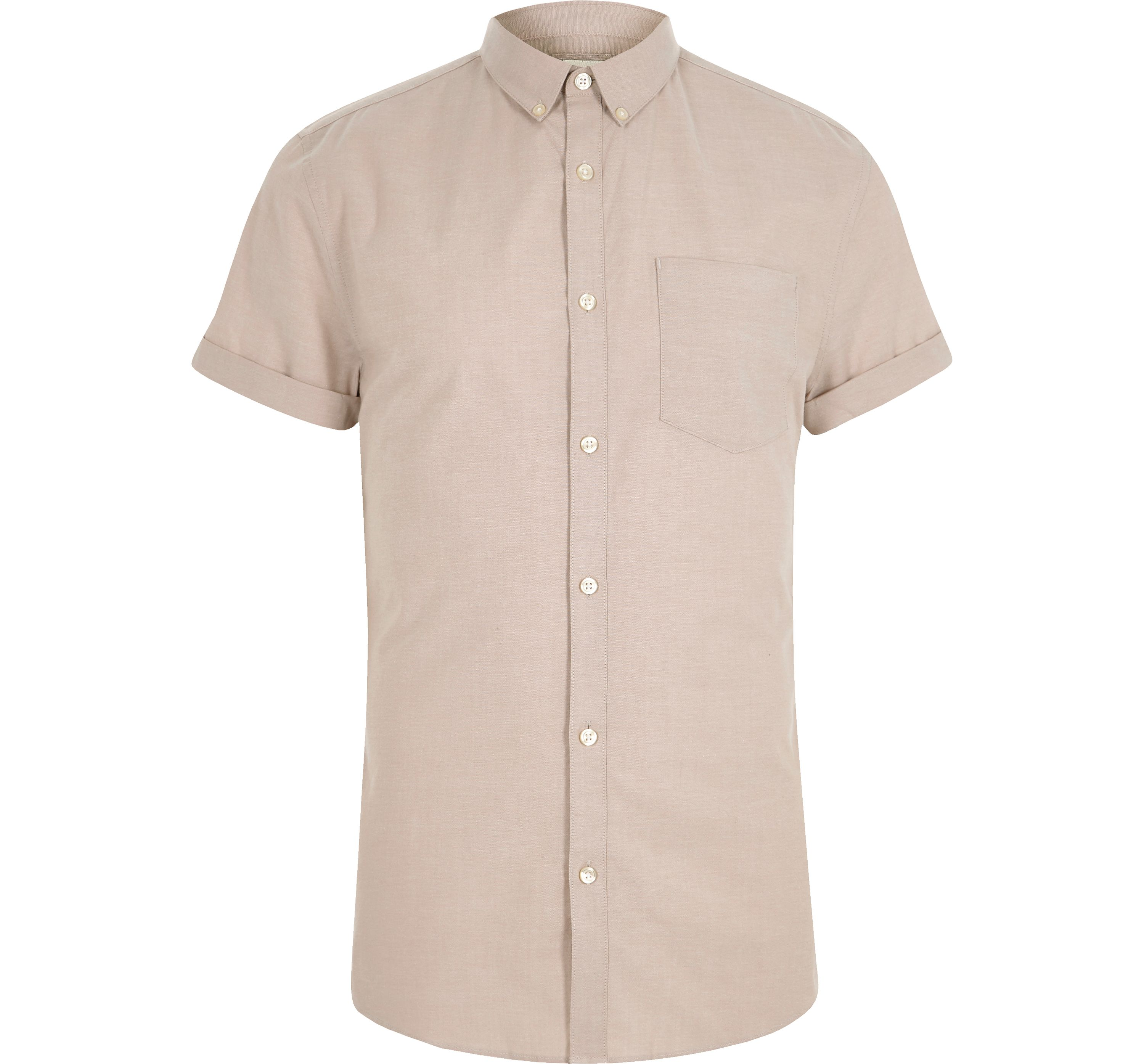 River Island Mens Beige muscle fit short sleeve Oxford shirt