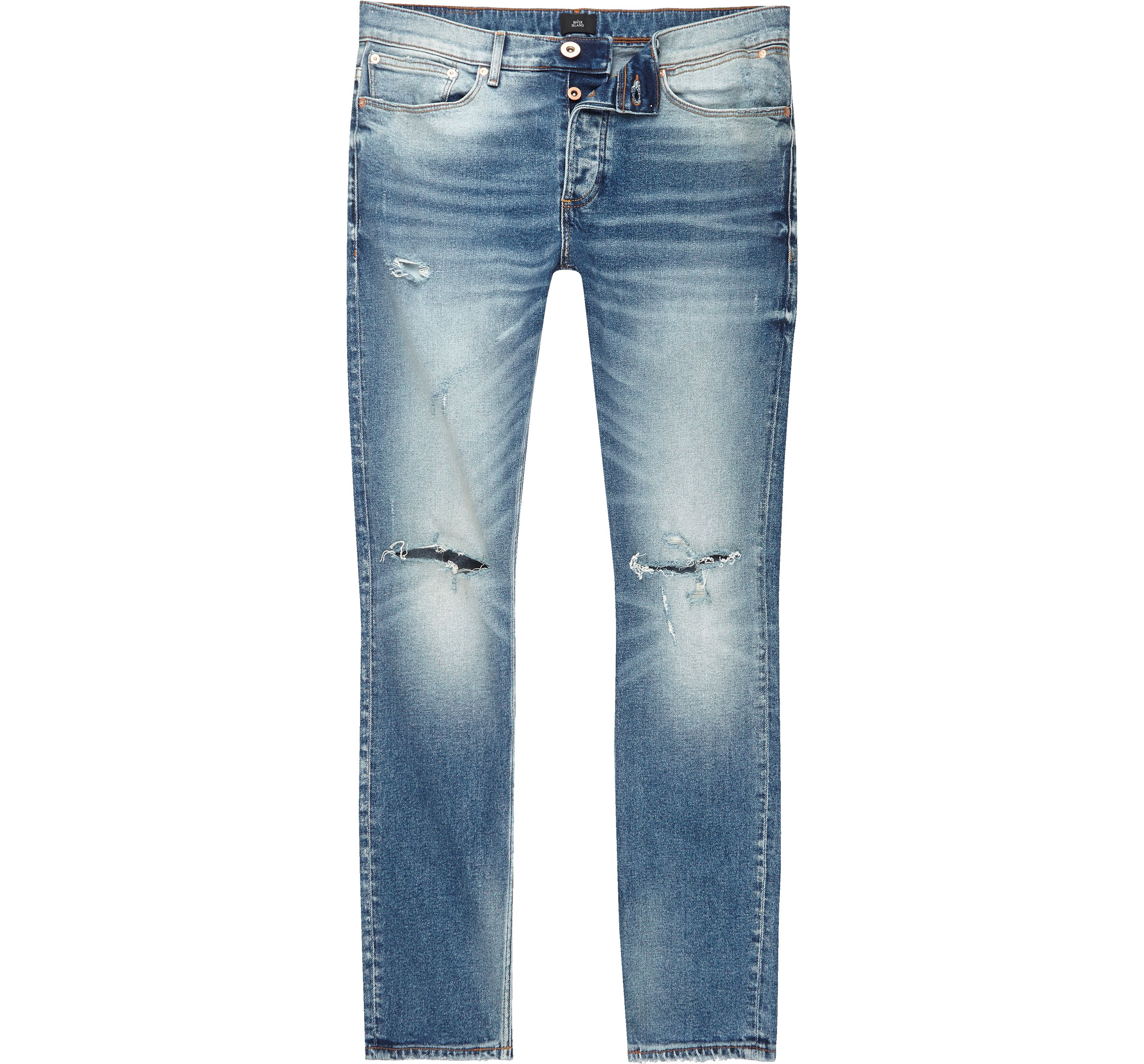 River Island Mens Mid Blue Sid ripped knee skinny jeans