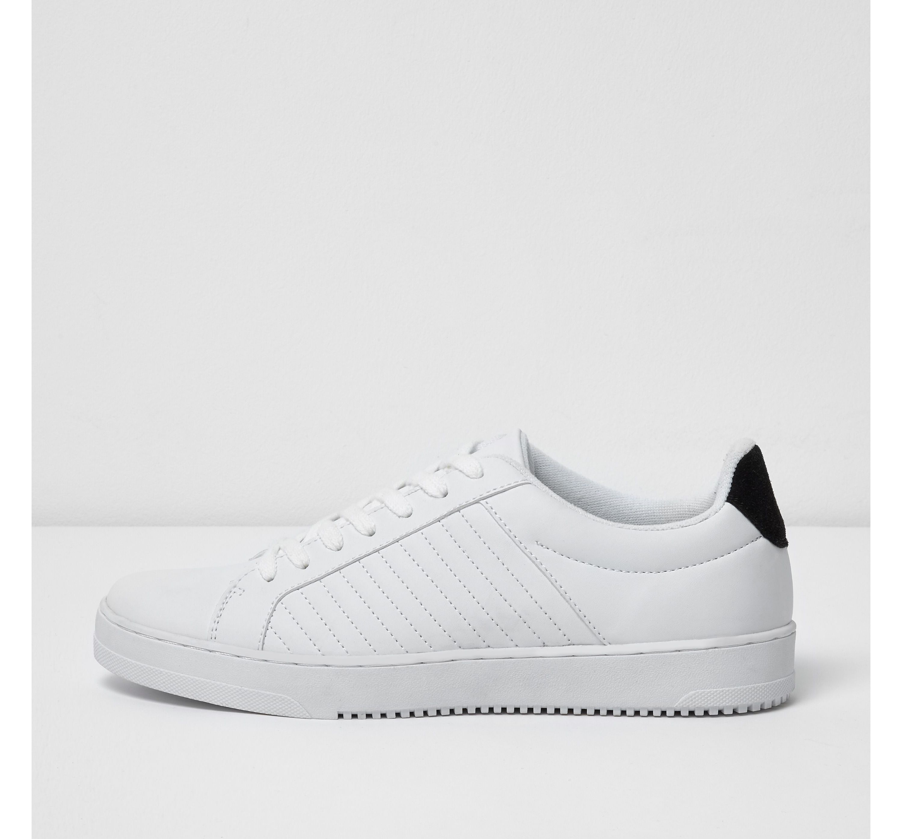 River Island Mens White quilted lace-up trainers