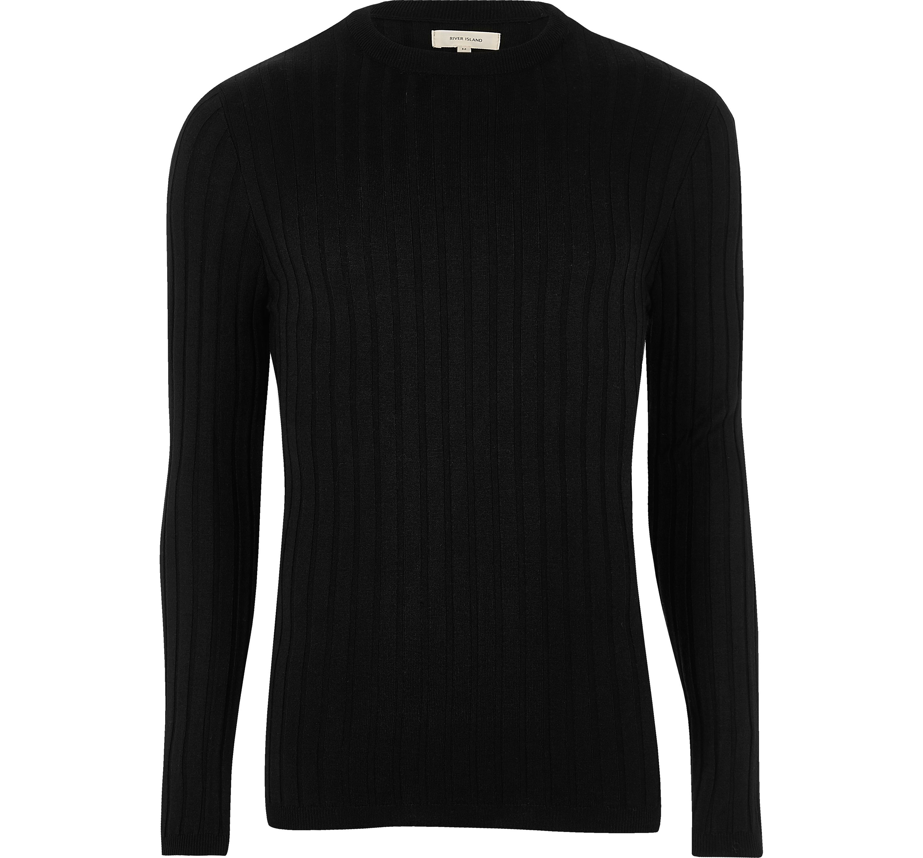 River Island Mens Black ribbed muscle fit jumper