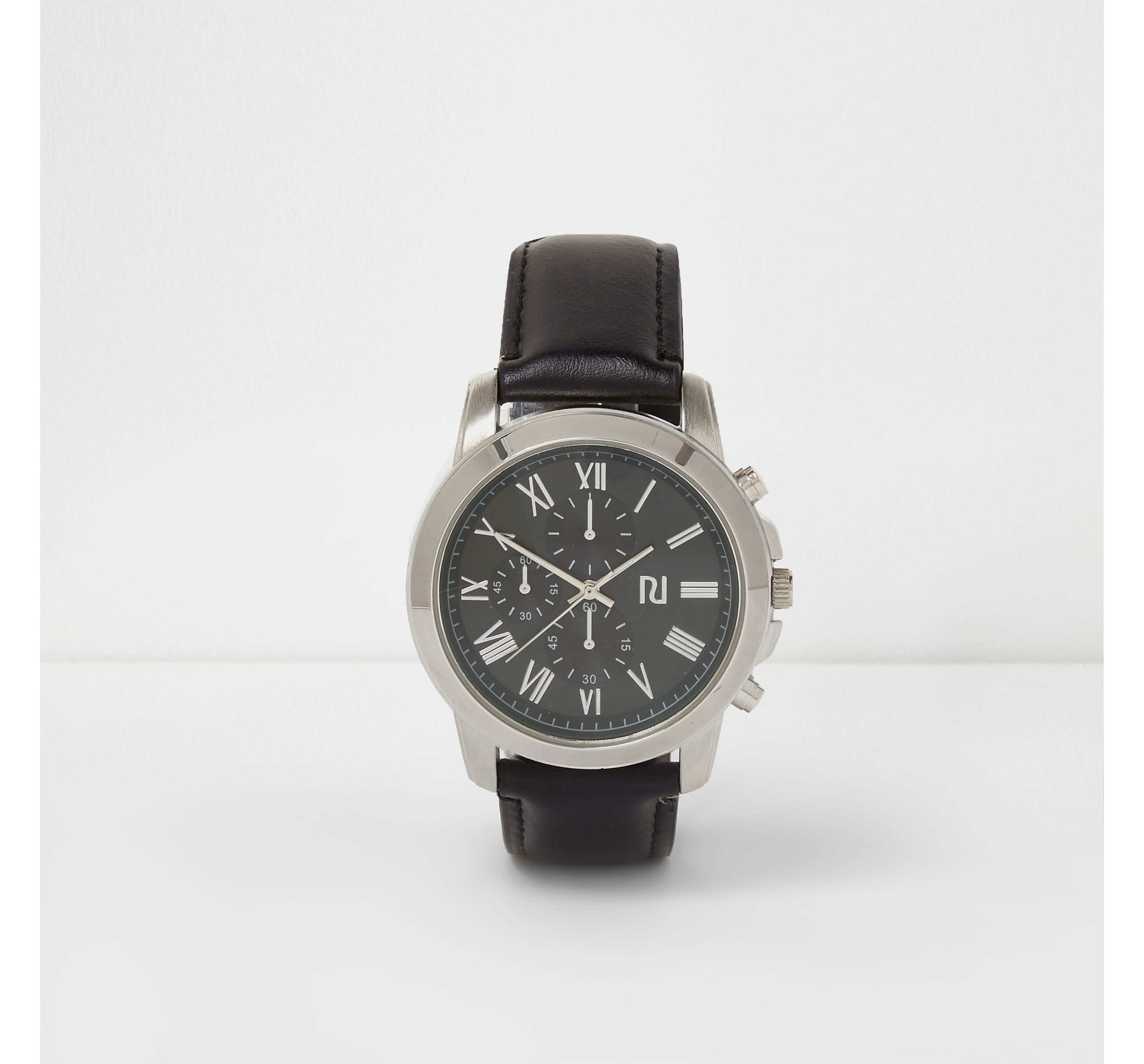 River Island Mens Black and green round watch