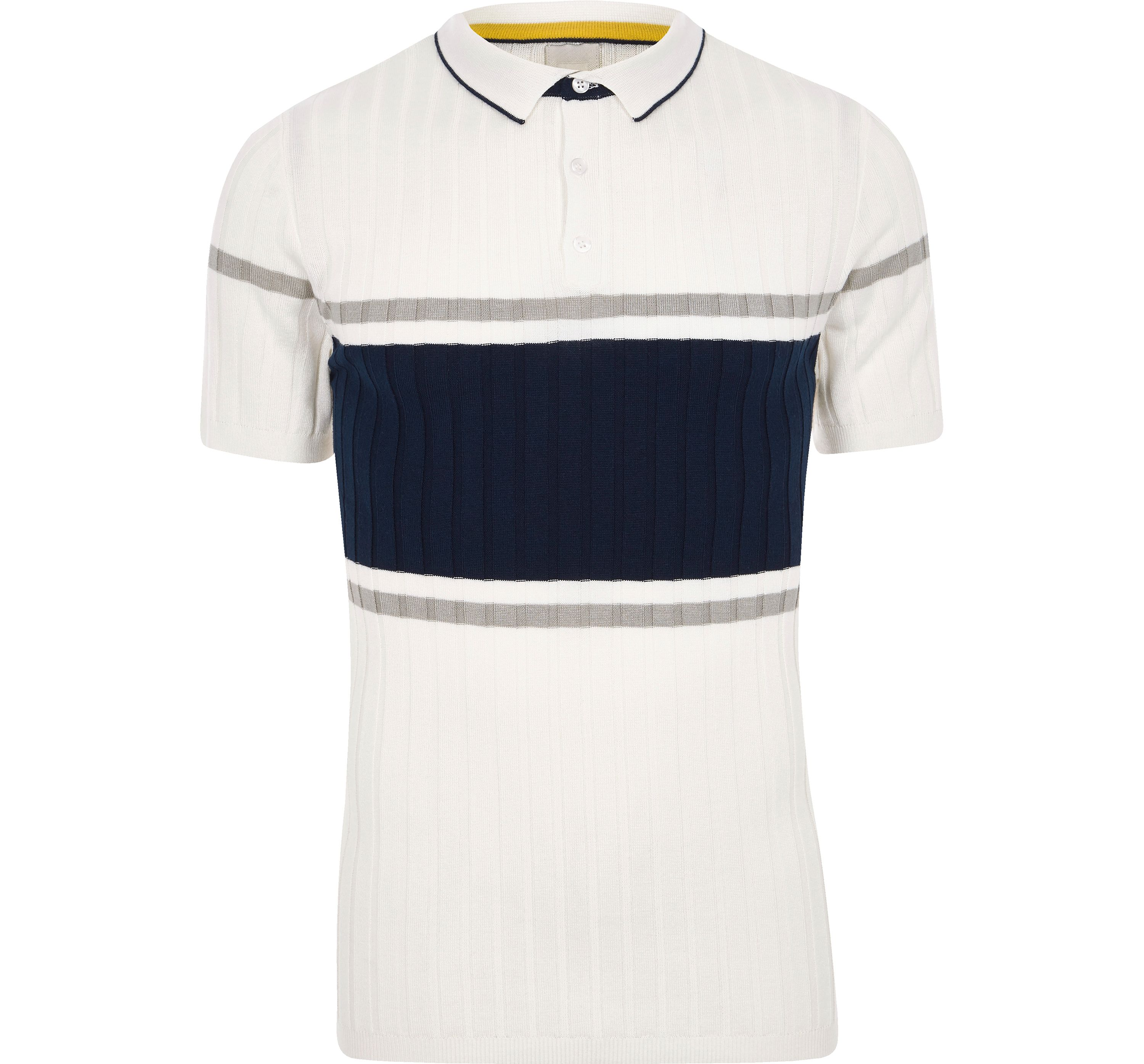 River Island Mens Cream rib blocked muscle fit polo shirt