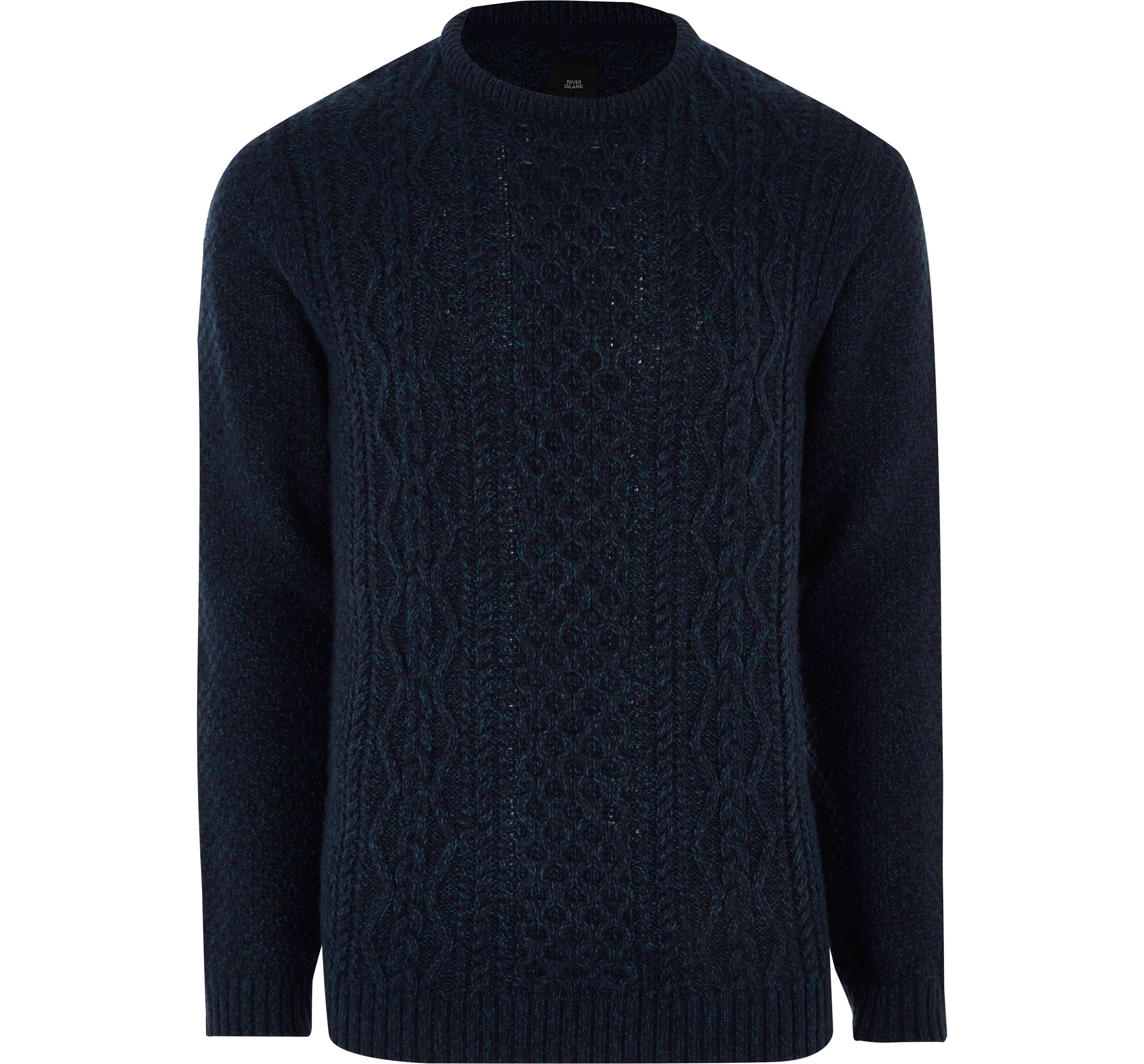 River Island Mens Navy cable knit jumper