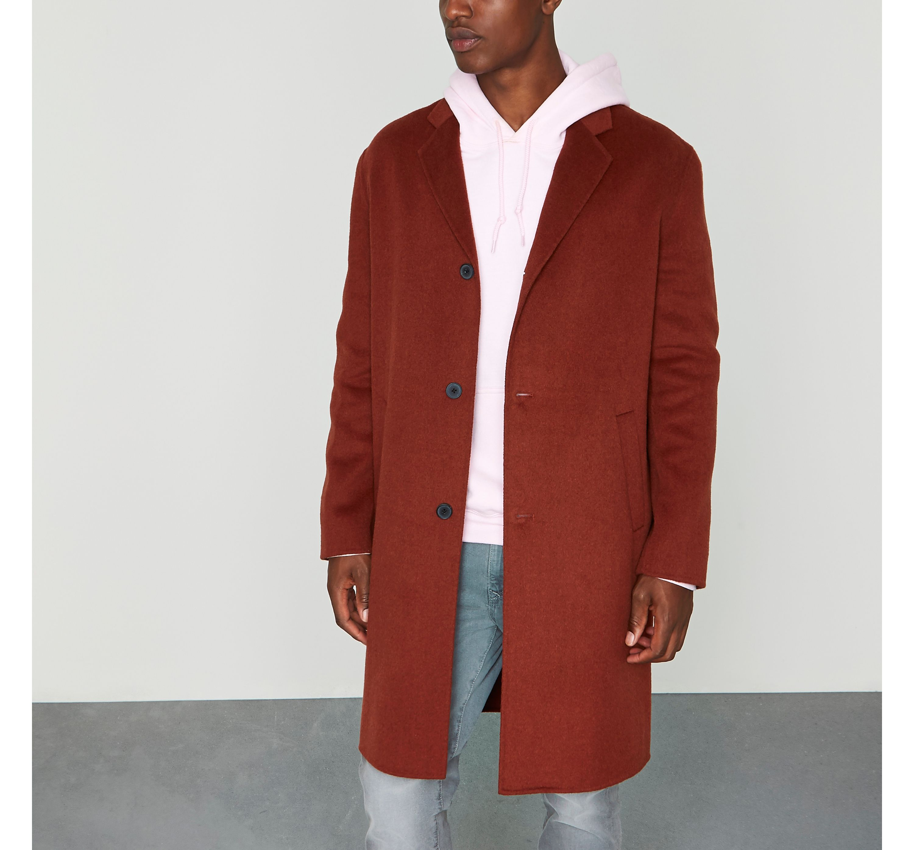 River Island Mens Dark Orange cocoon coat