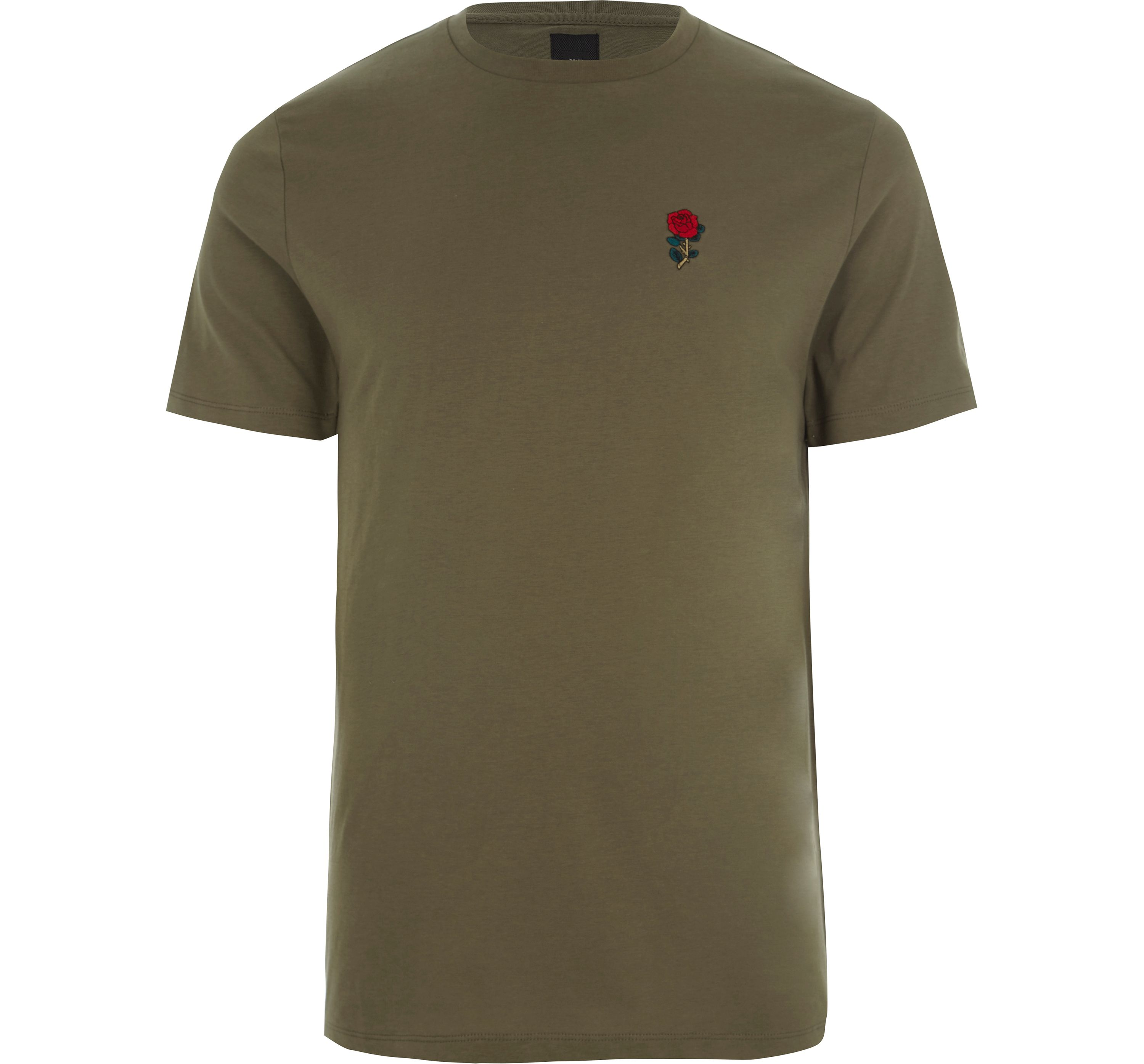 River Island Mens Khaki rose chest embroidered slim fit T-shirt