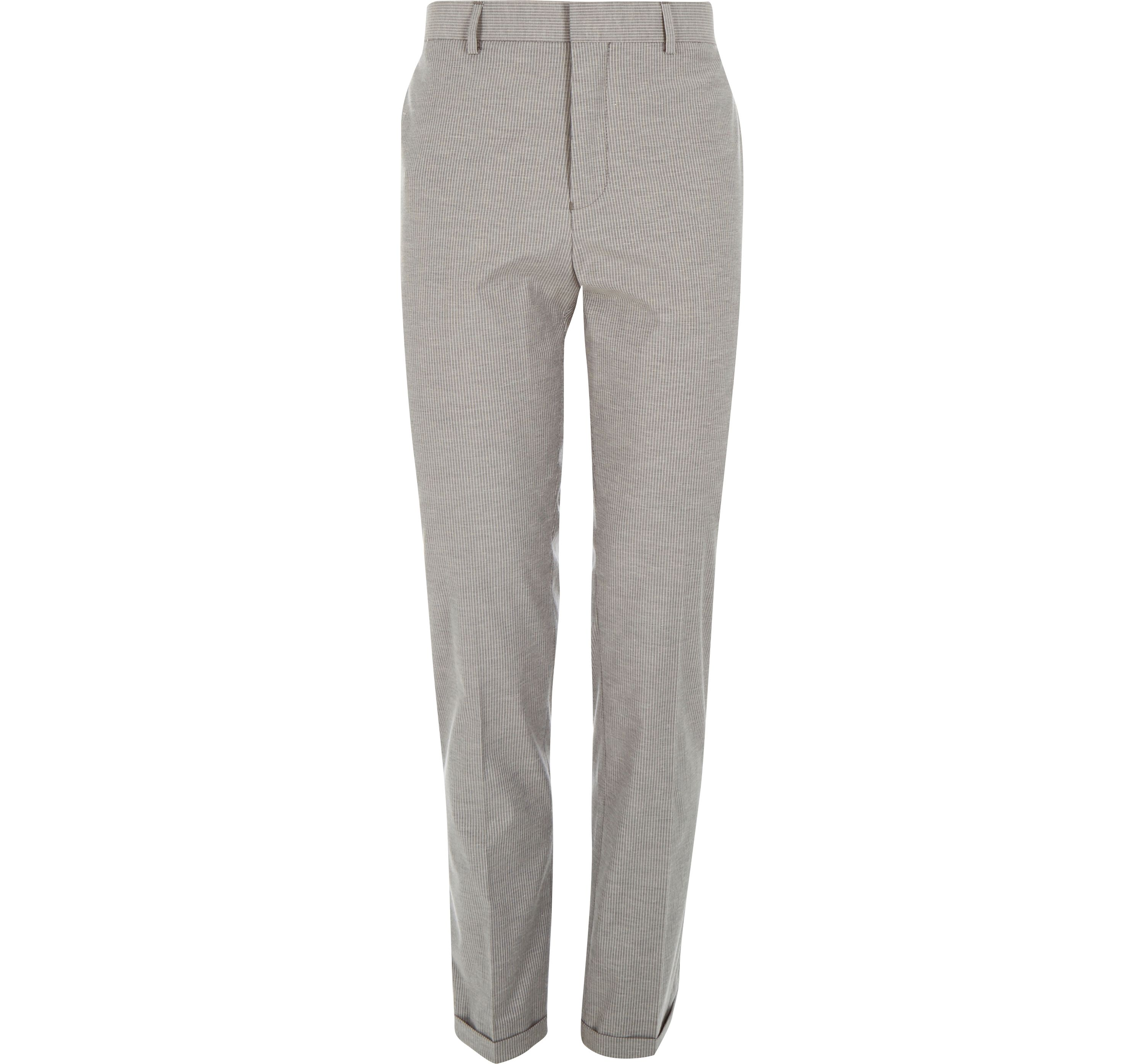 River Island Mens Grey stripe smart tailored slim trousers