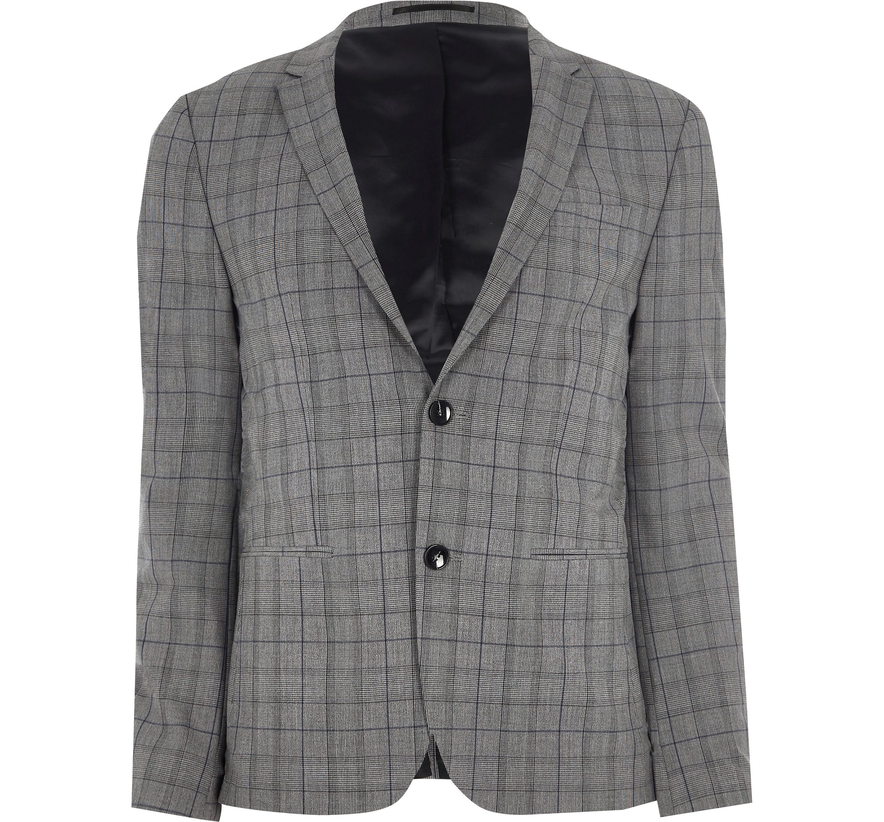 River Island Mens Grey check ultra skinny fit suit jacket