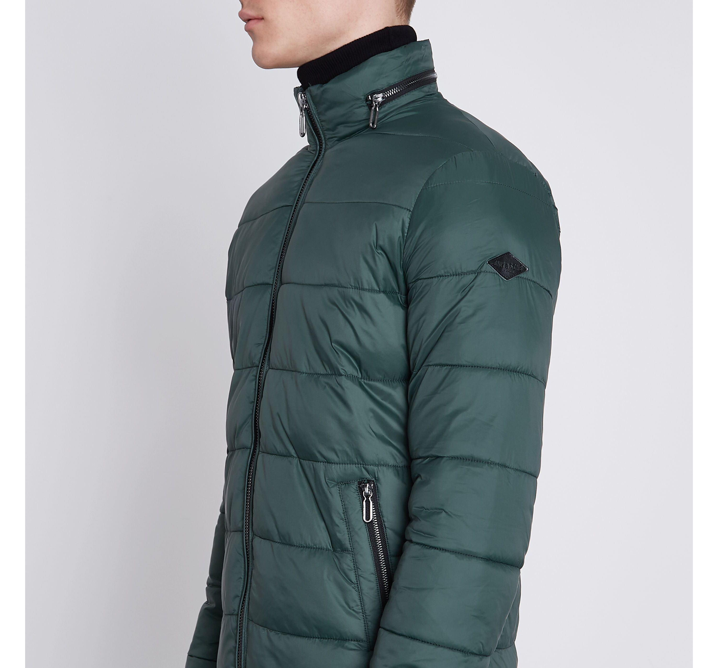 River Island Mens Green Only and Sons padded jacket