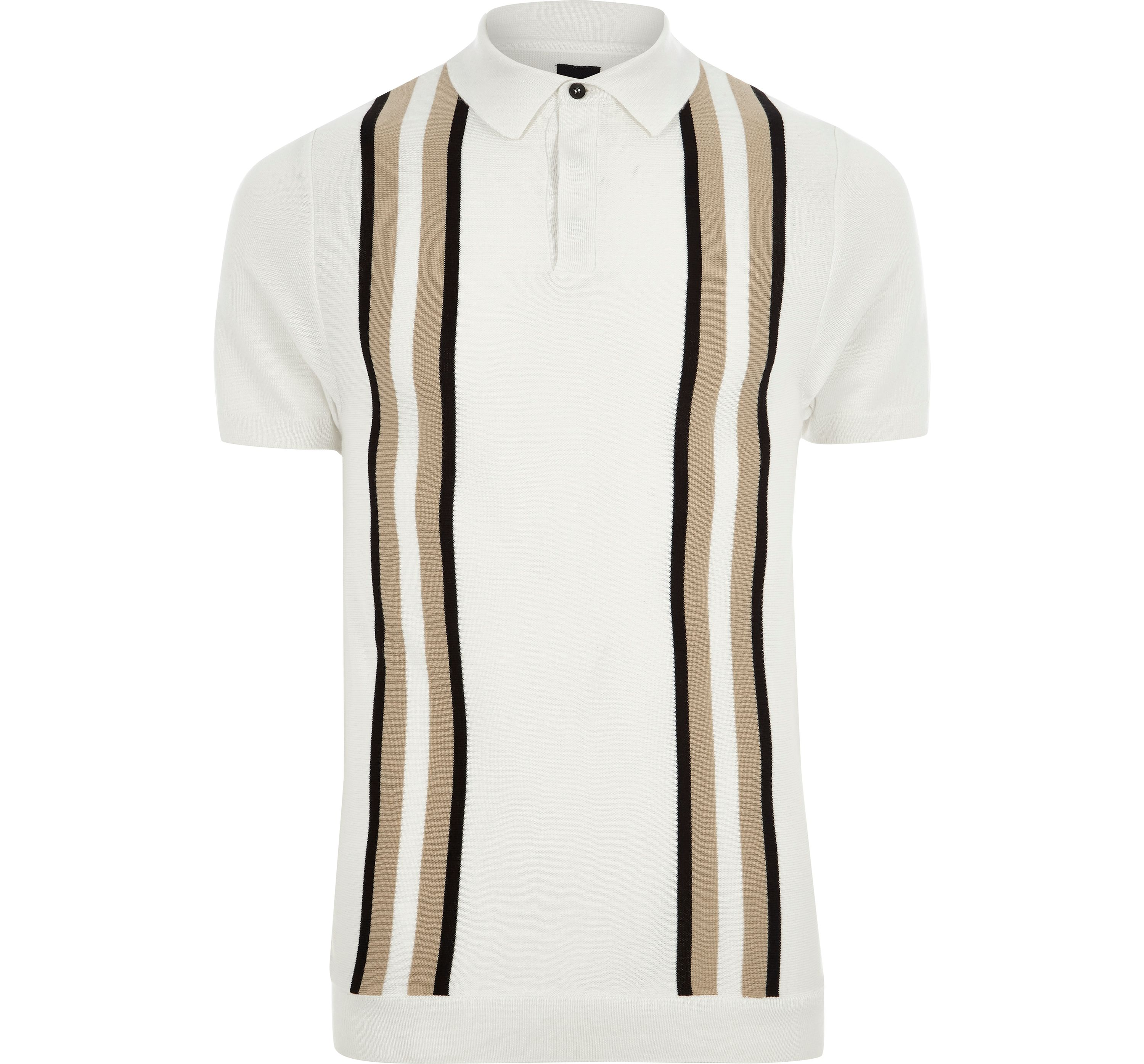 River Island Mens Cream block slim fit knitted polo shirt