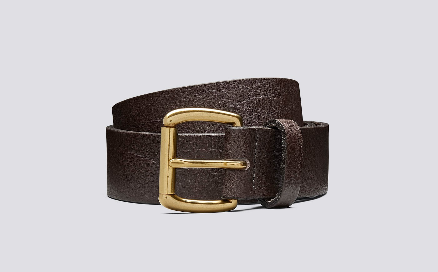 Grenson Jeans Belt Burnt Oak Pebble Grain