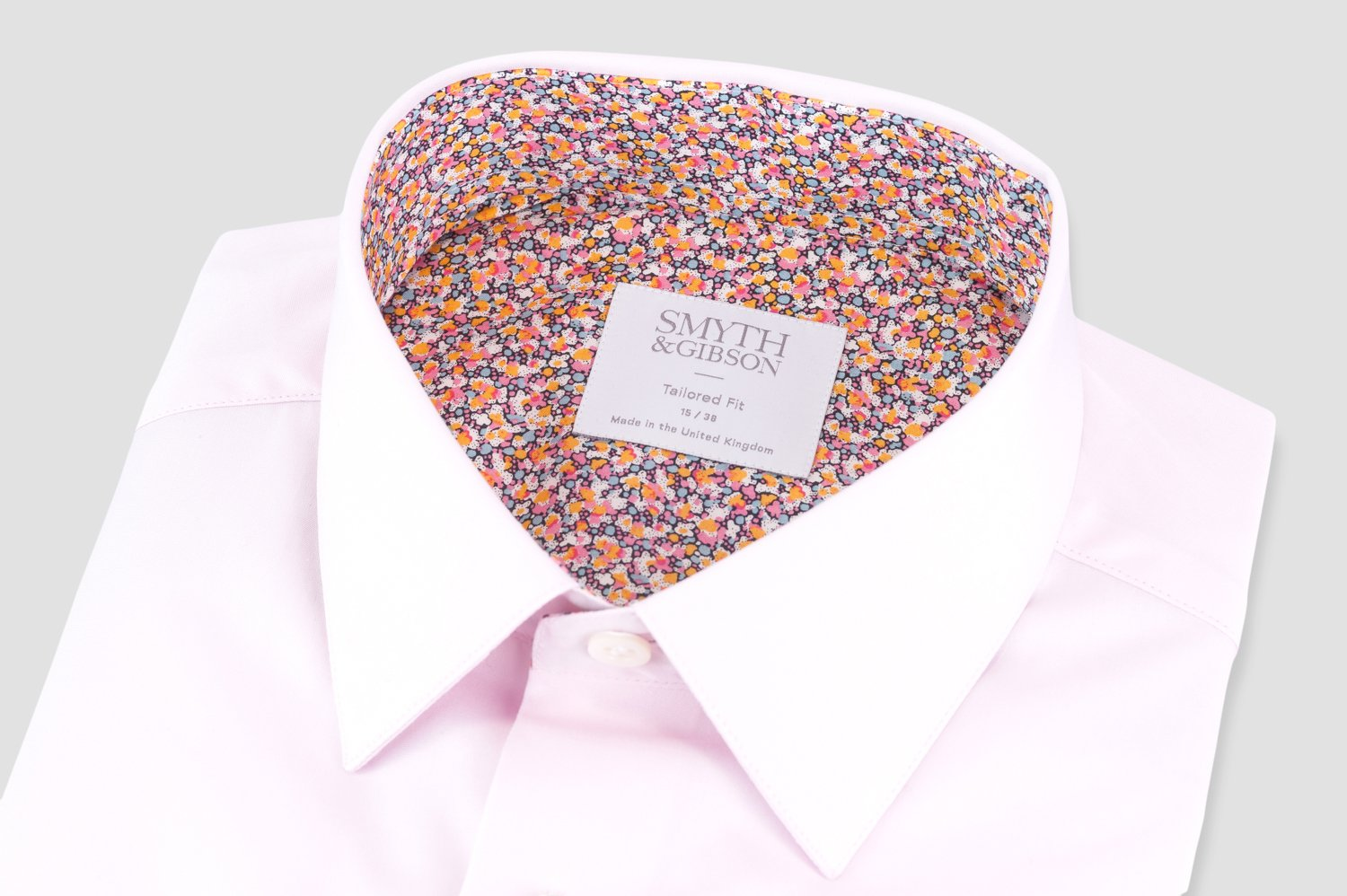 Smyth & Gibson Liberty Print Floral Contrast Tailored Fit Shirt in Pink