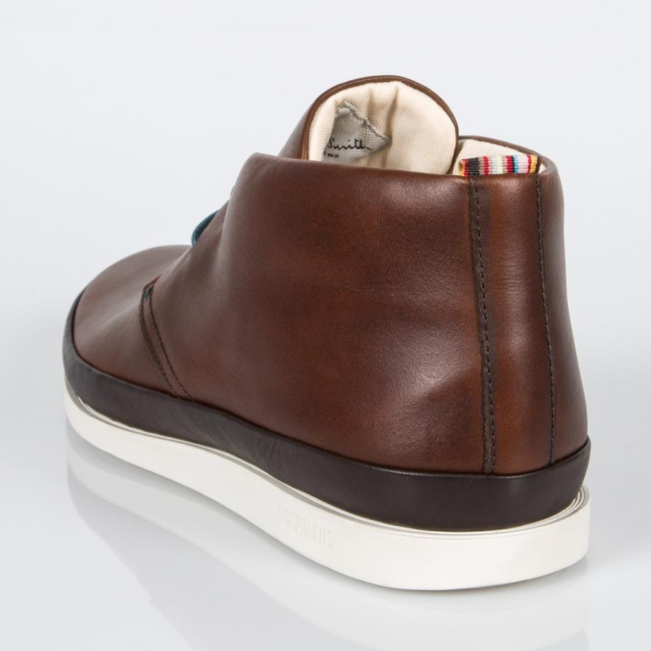 0f0ba17053f Paul Smith Men's Brown Leather 'Loomis' Chukka Boots With White Soles by  Paul Smith