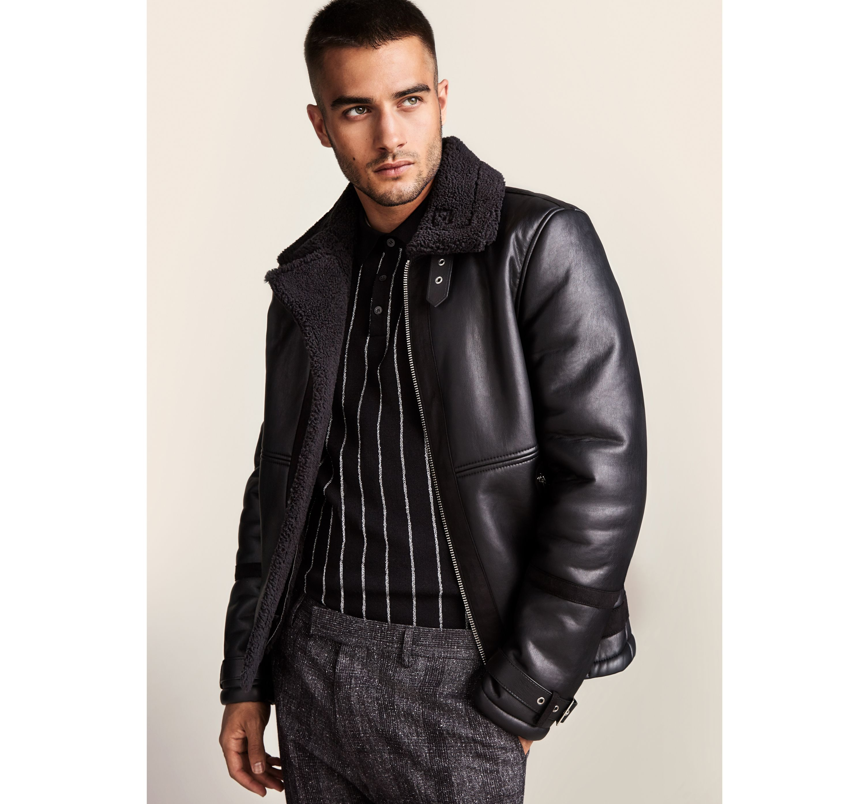 b6c19457c0292 Mens Black faux shearling aviator jacket ... — Thread